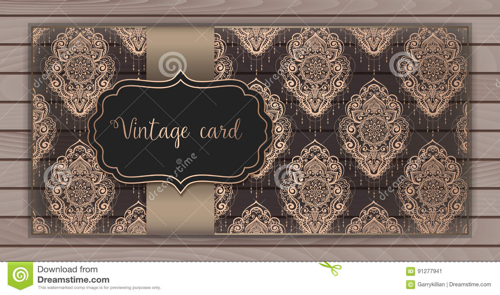 Inbjudan kort med damast bakgrund Arabesquestildesign På träbakgrund vektor för stil för logo för illustration för affärskort cor