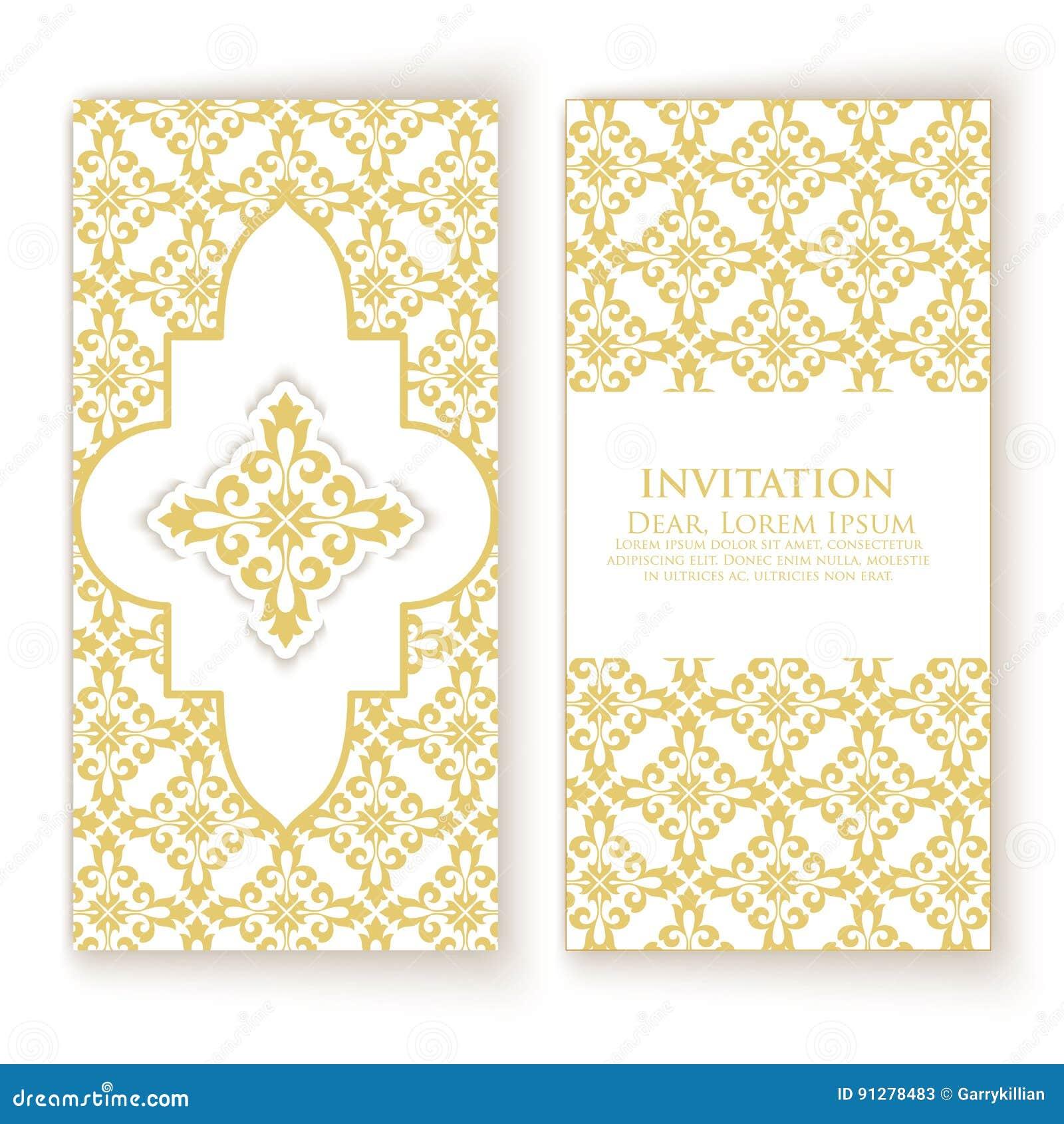 Inbjudan, kort med etnisk damast eller arabesquebeståndsdelar Abstrakt arabesquestildesign vektor för stil för logo för illustrat