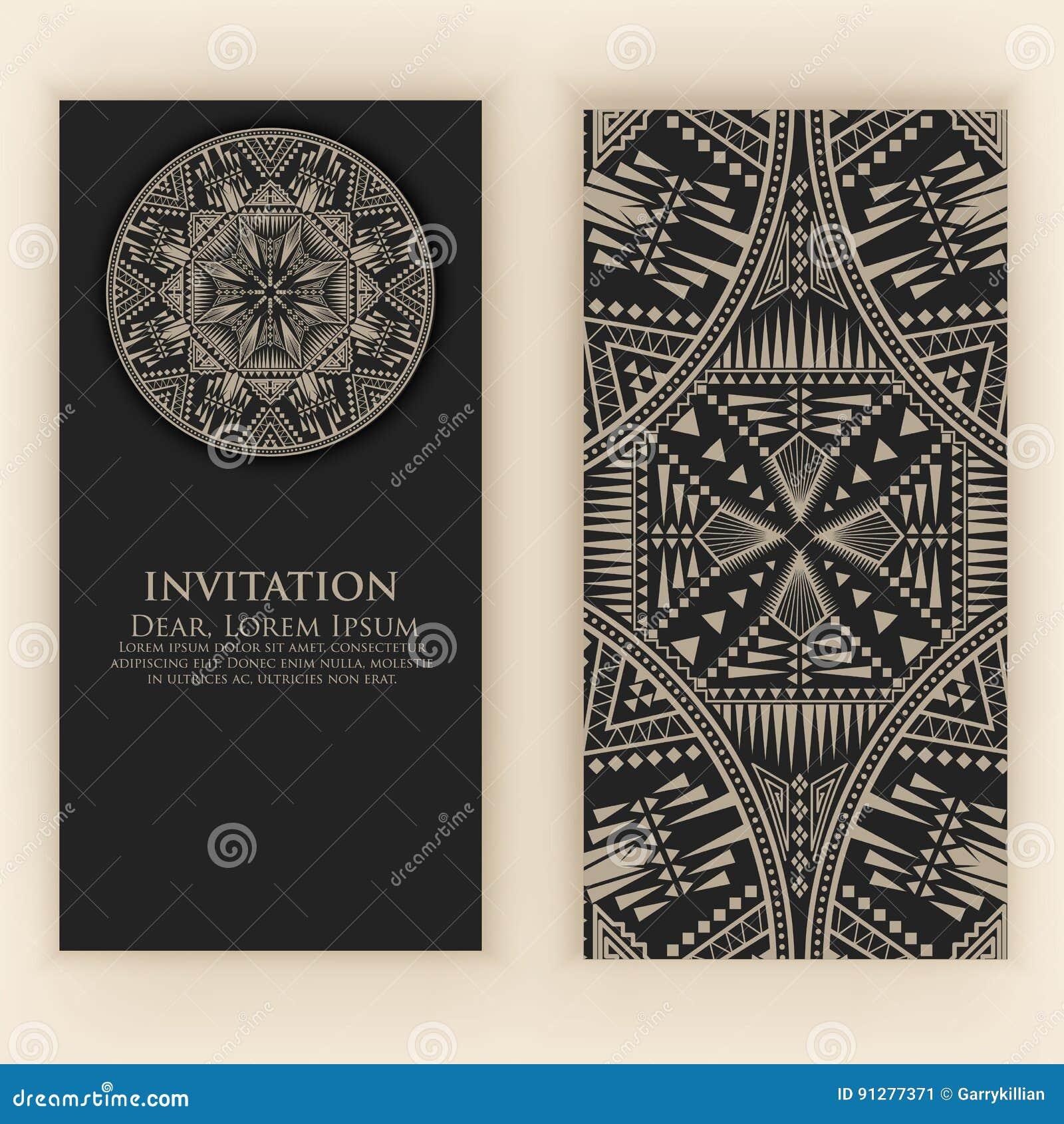 Inbjudan kort med etniska arabesquebeståndsdelar Arabesquestildesign vektor för stil för logo för illustration för affärskort cor