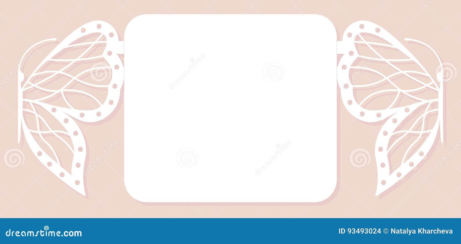 Inbjudankort som gifta sig garnering, designbeståndsdel Elegant fjärilslaser-snitt också vektor för coreldrawillustration