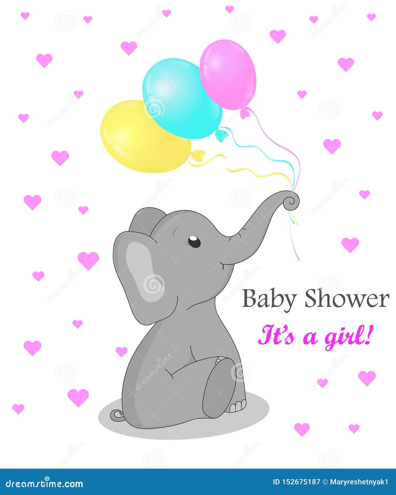 Inbjudankortbaby shower med elefanten för flicka Gullig elefant med ballonger Födelsedaghälsningskort med den plana elefanten Vec