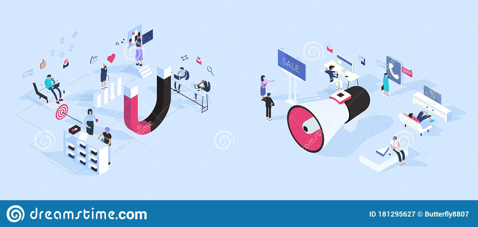inbound vs outbound marketing concept vector illustration stock vector illustration of advertising post 181295627 inbound vs outbound marketing concept vector illustration stock vector illustration of advertising post 181295627
