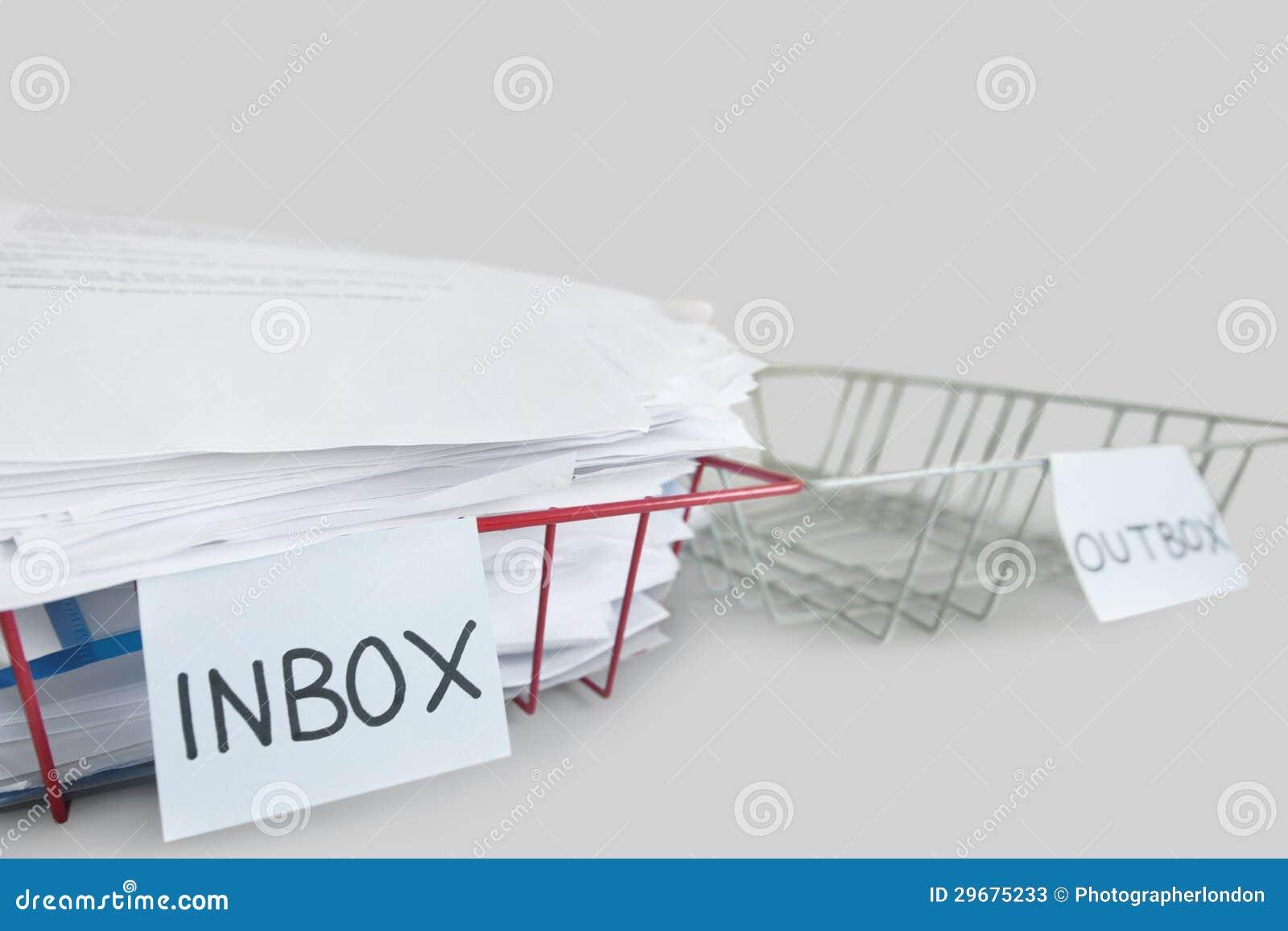 Inbox i outbox tace w biurze nad białym tłem