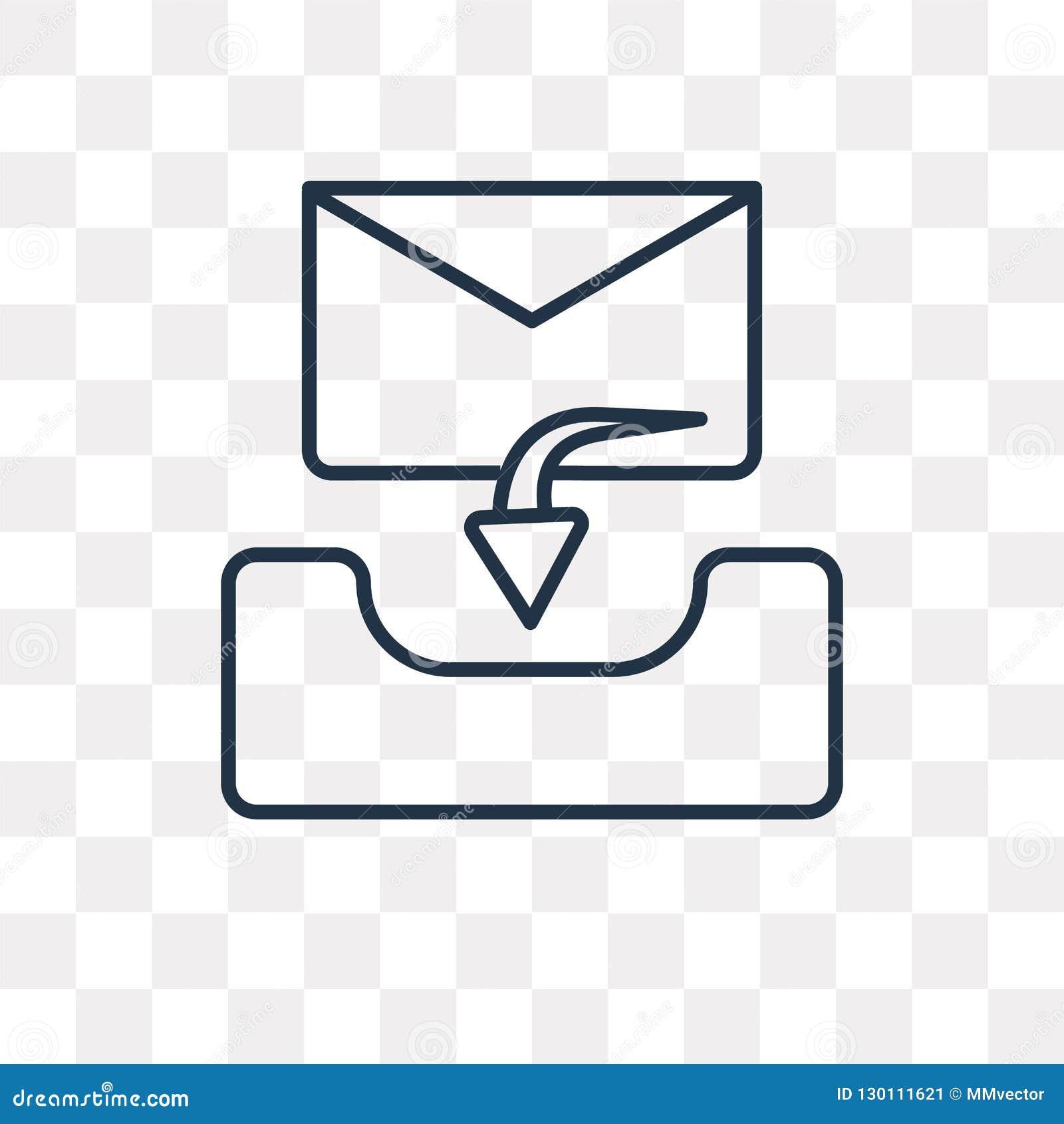 Inbox vectordiepictogram op transparante achtergrond, lineaire Inb wordt geïsoleerd