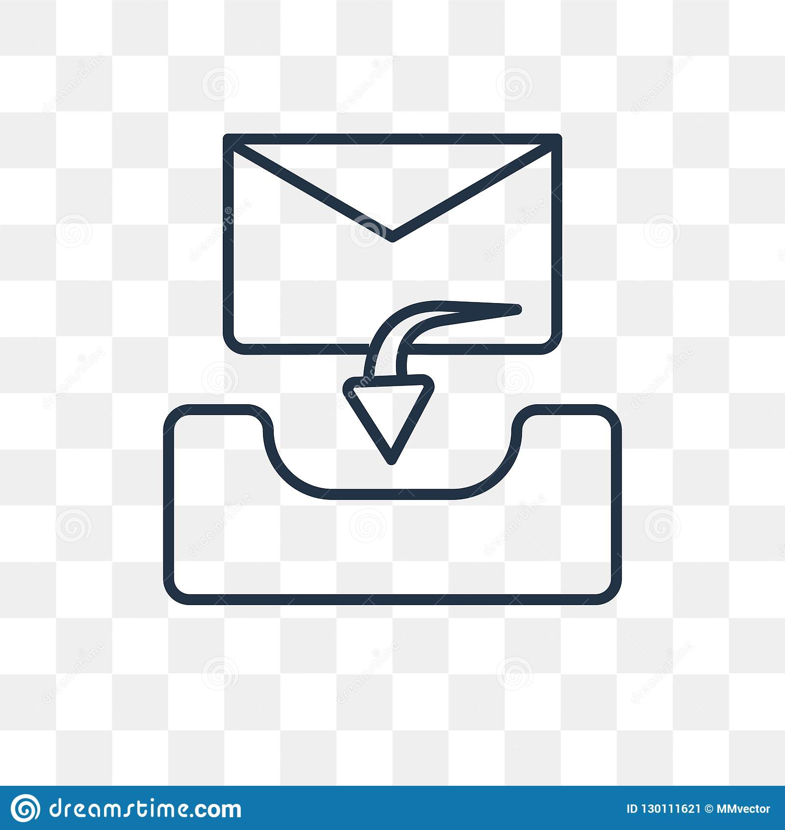 Inbox-Vektorikone lokalisiert auf transparentem Hintergrund, lineares Inb