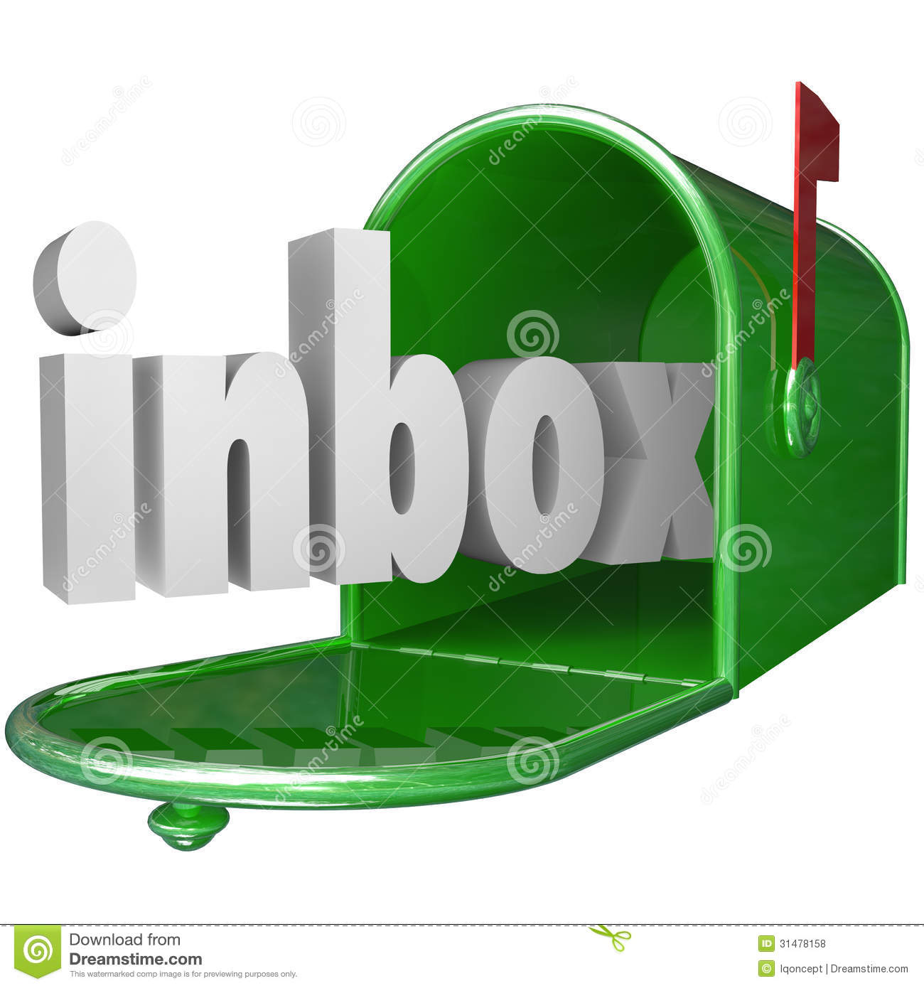 Inbox Word Green Mailbox Incoming Message Email Royalty ...