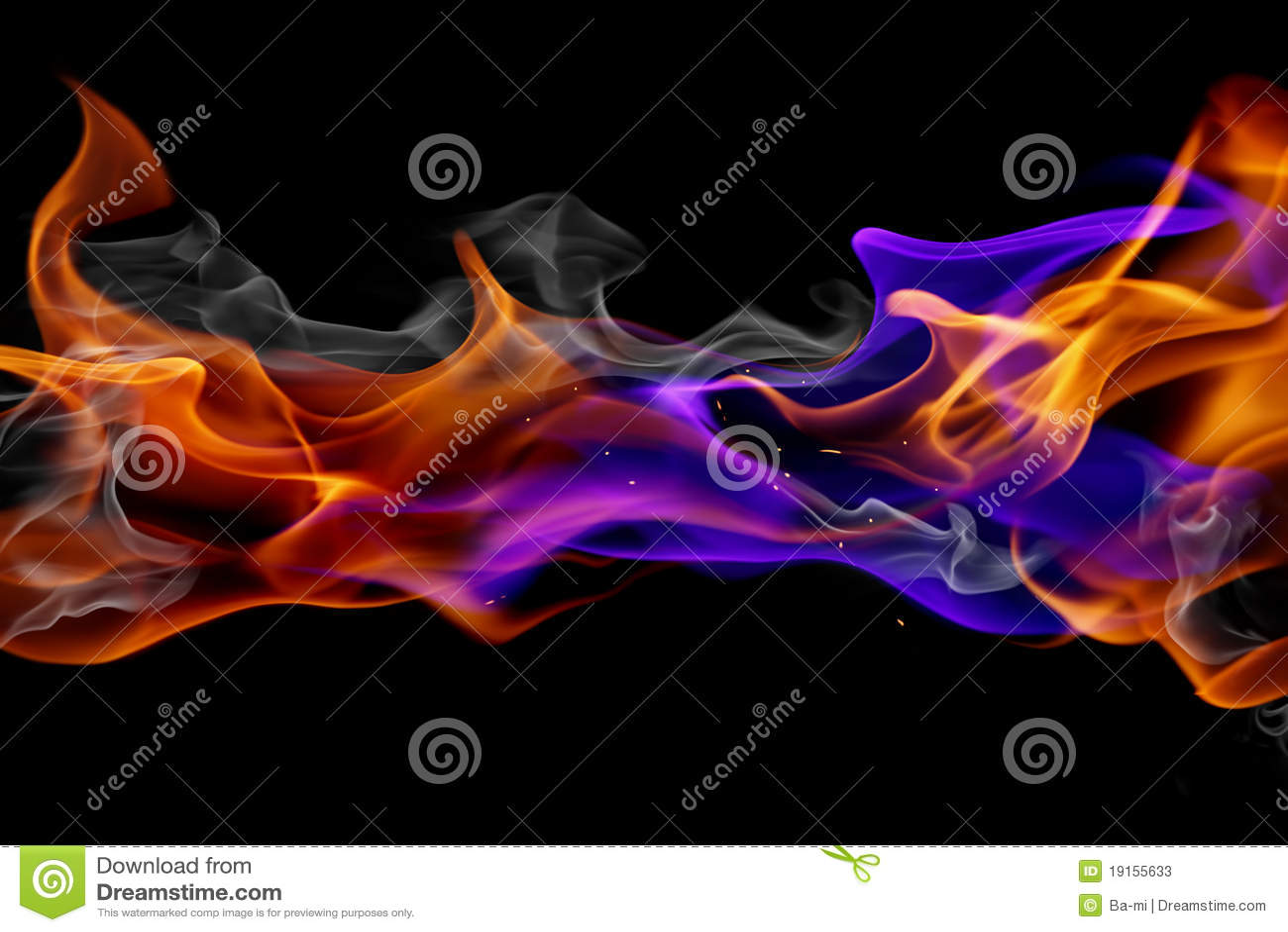 Incêndio azul e vermelho