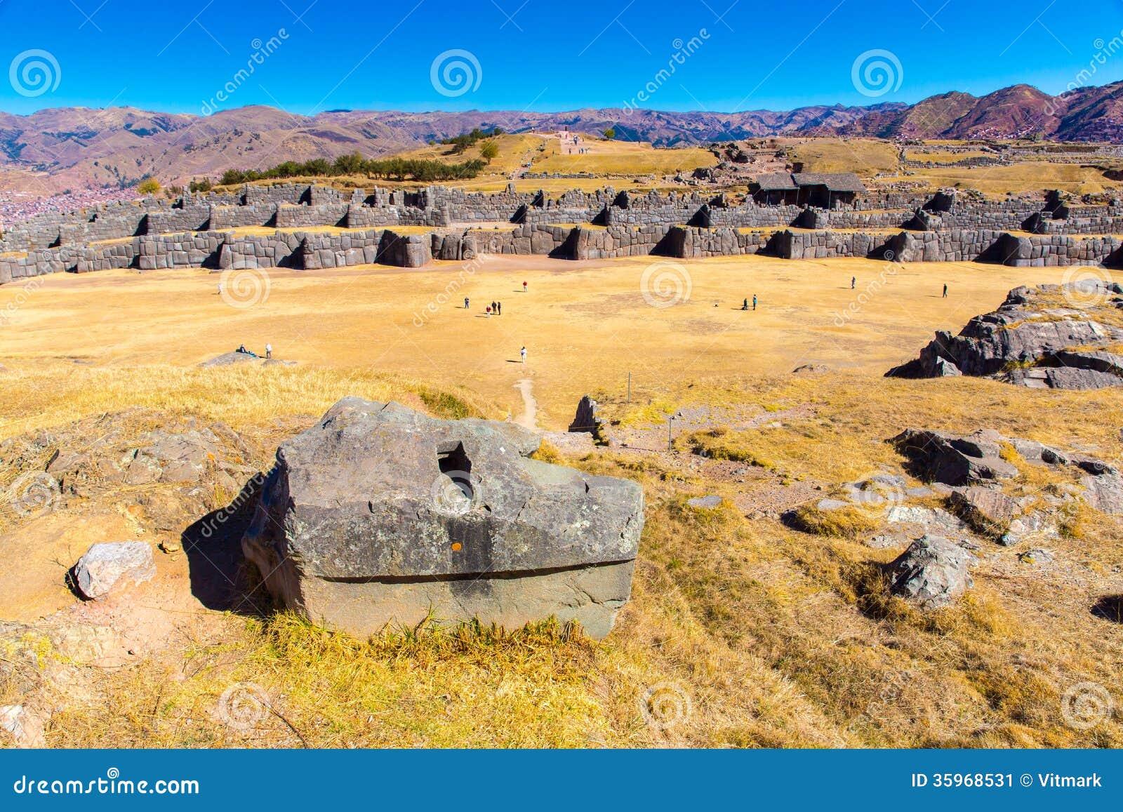 Inca Ruins - Saqsaywaman, Perú, Suramérica. Complejo arqueológico, Cuzco. Ejemplo de la albañilería poligonal