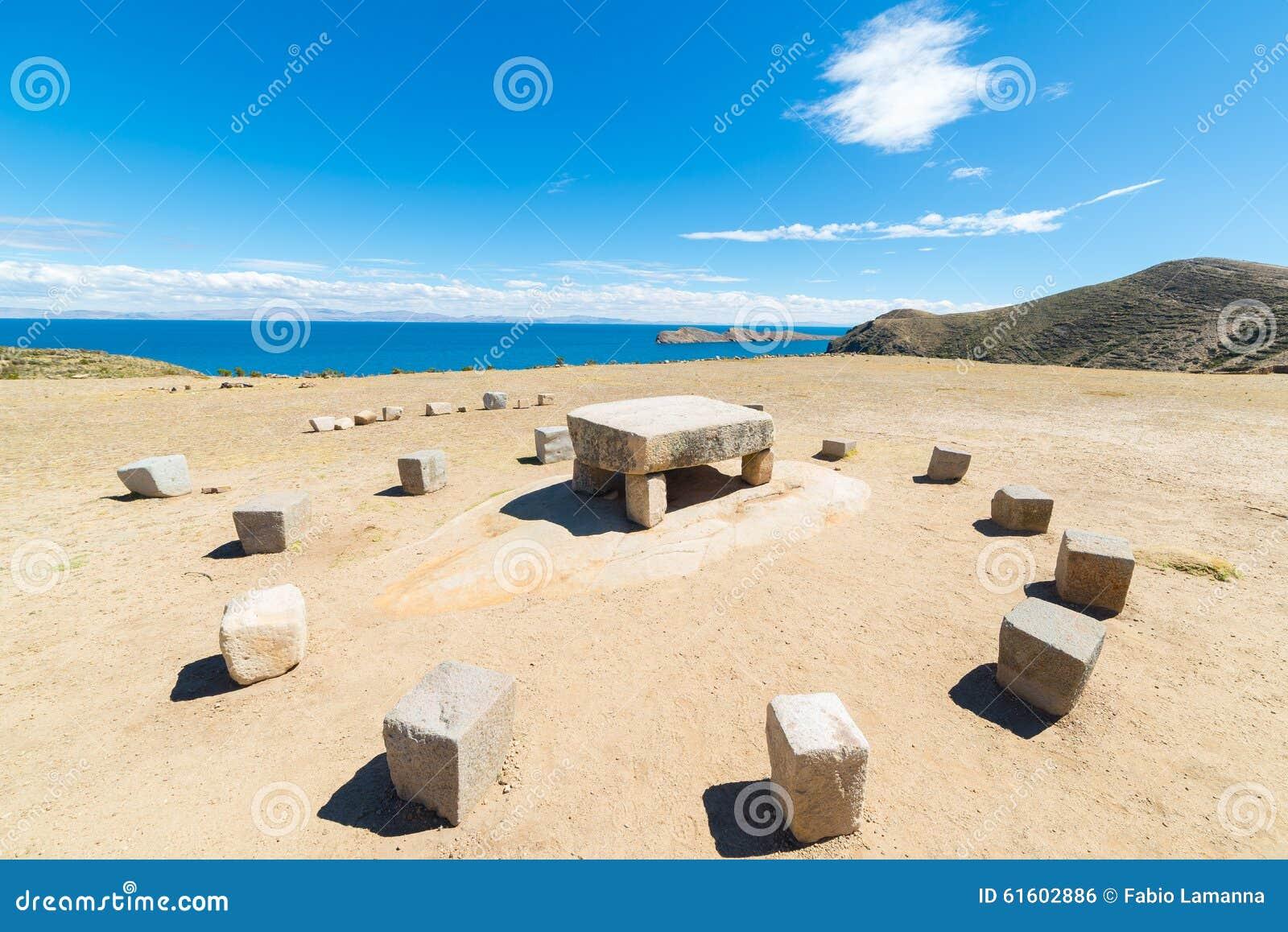 Inca s sacrifice table on Island of the Sun, Bolivia