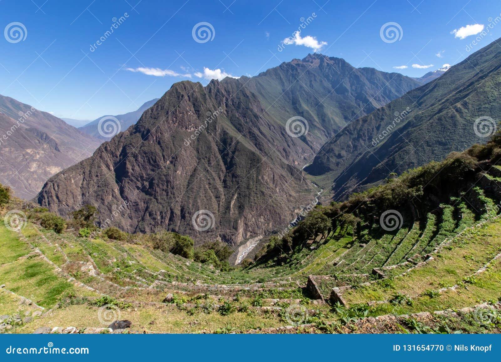 Inca Terraces Anderna berg, Peru