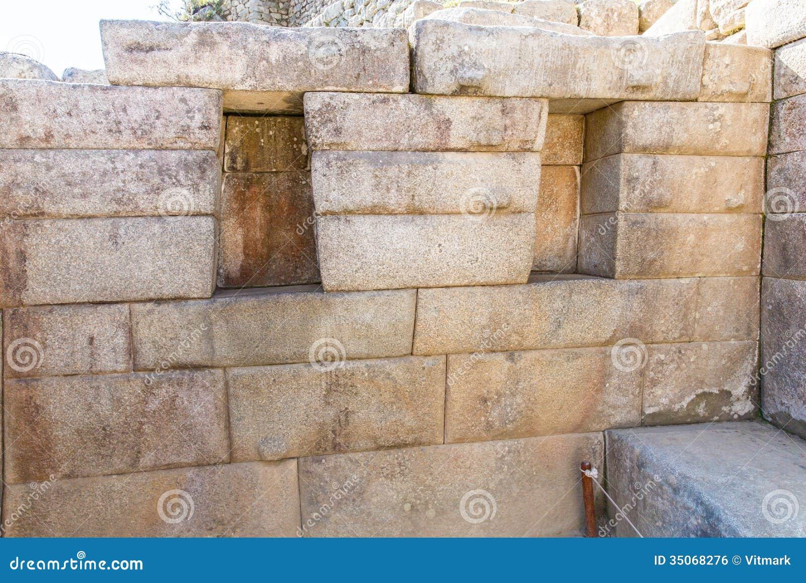 Inca wall in machu picchu peru south america example of for American brick and stone