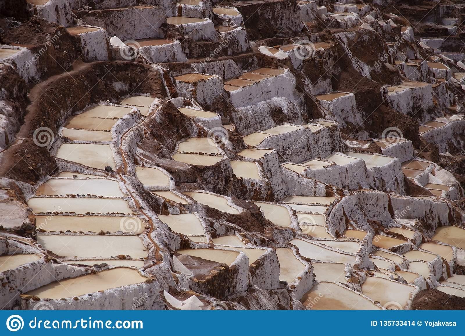 Incan Outdoor salt mine in the Andes, peru