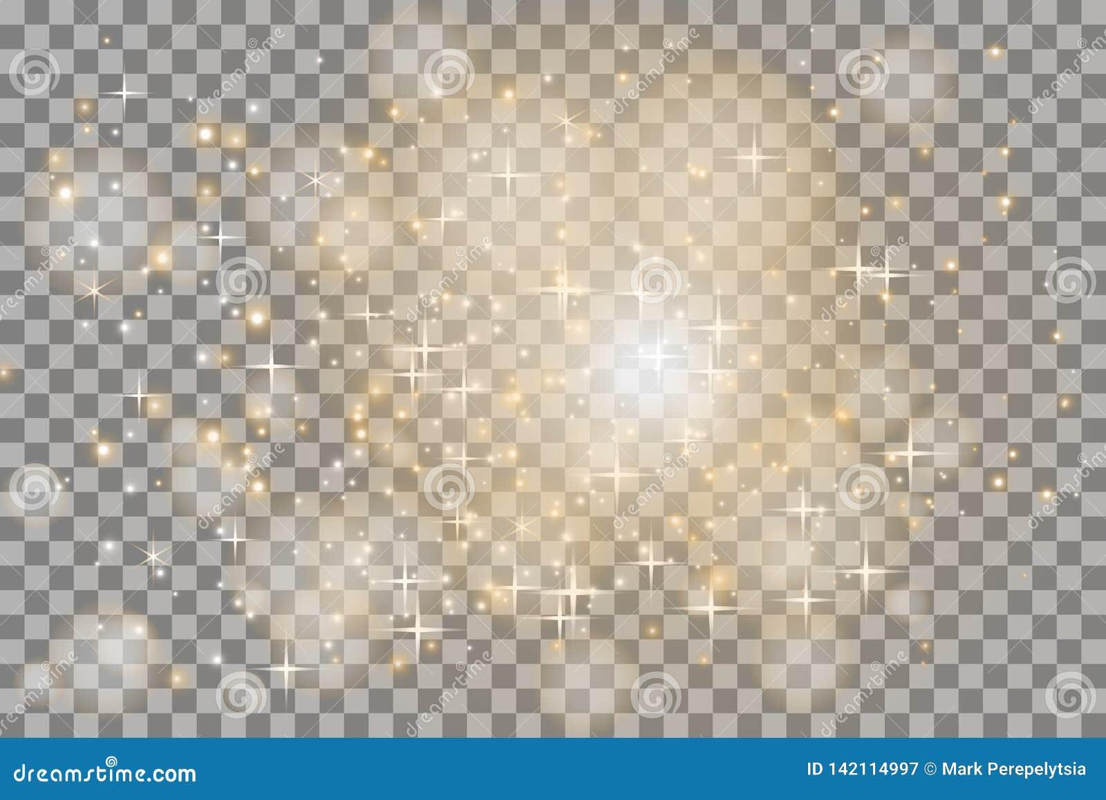 A incandescência branca clara explode em um fundo transparente Partículas de poeira mágicas efervescentes Estrela brilhante