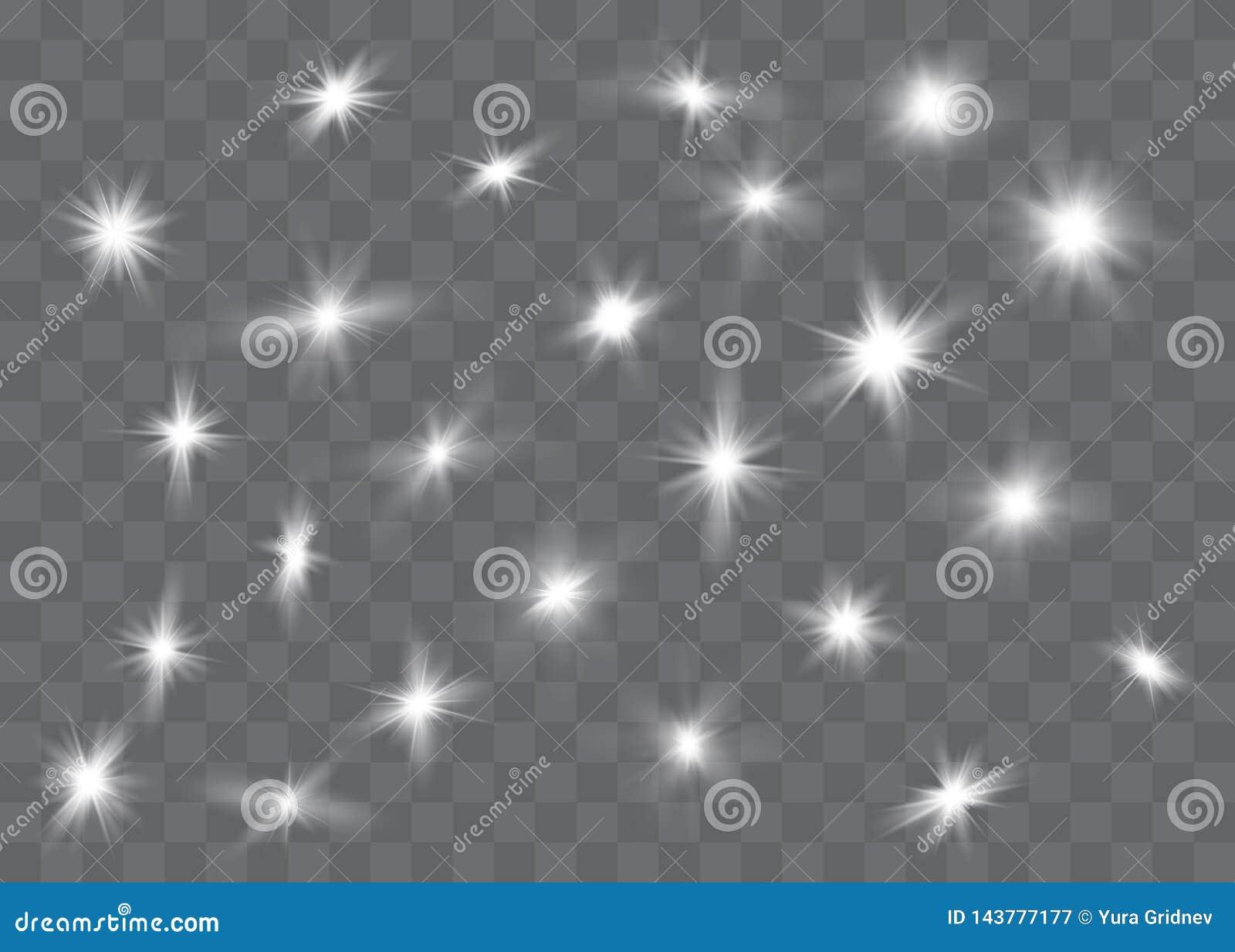 A incandesc?ncia branca clara explode em um fundo transparente Part?culas de poeira m?gicas efervescentes Estrela brilhante Sol d