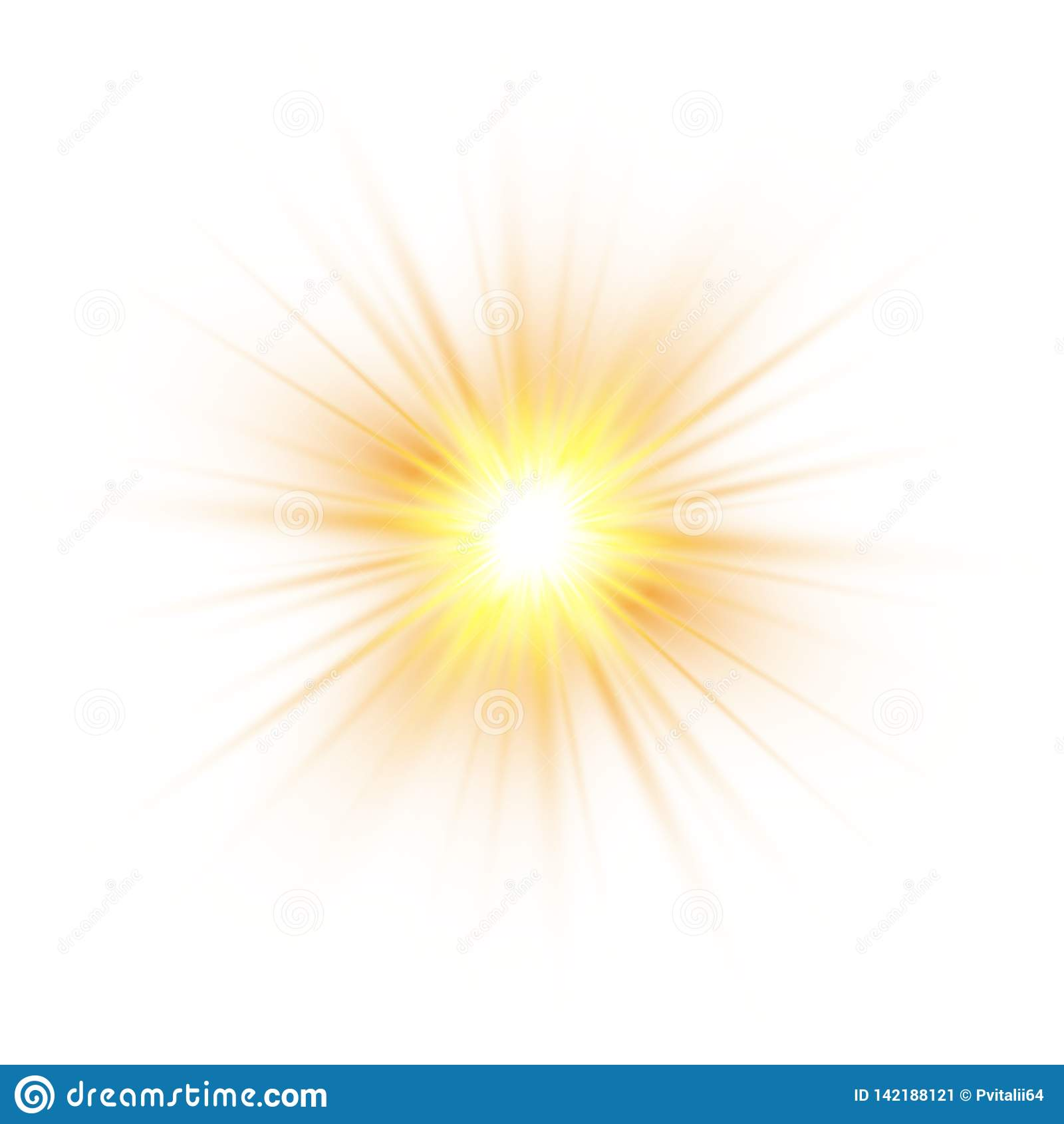 Incandesce o efeito da luz, explosão, brilho, faísca, flash do sol Ilustração do vetor