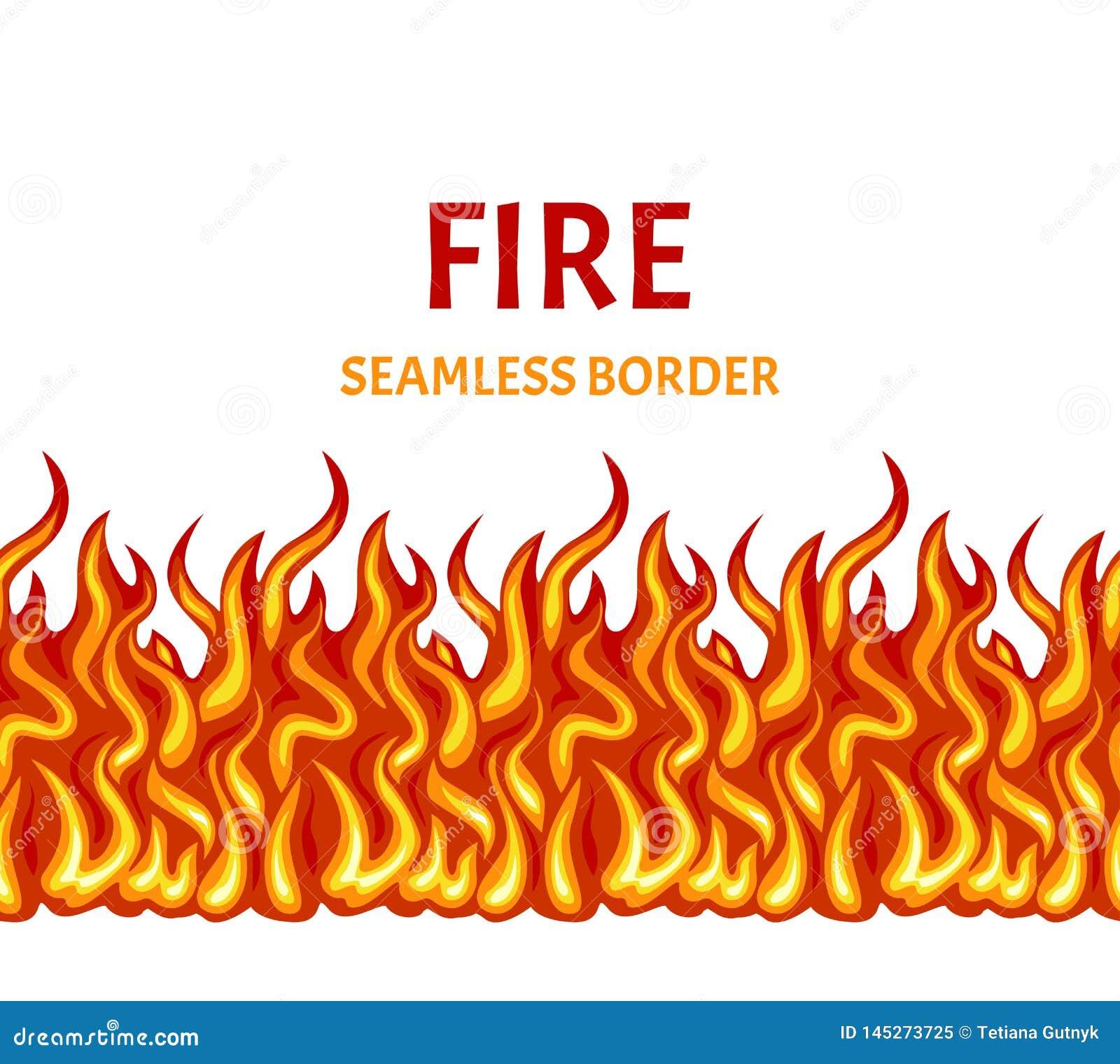 Incendie d isolement sur le fond blanc Frontière sans couture de flamme de vecteur