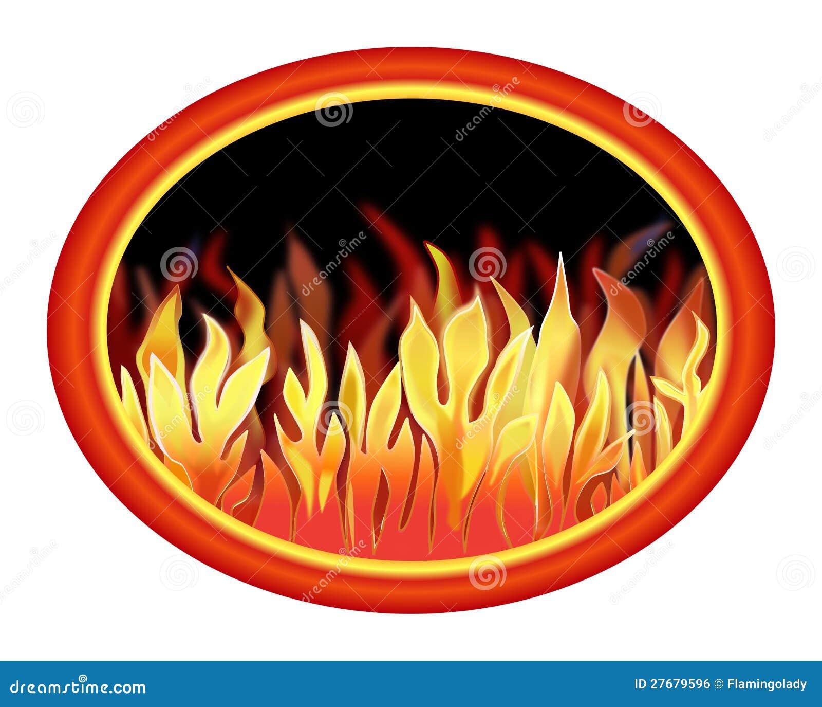incendie dans un ovale illustration stock. illustration du cheminée