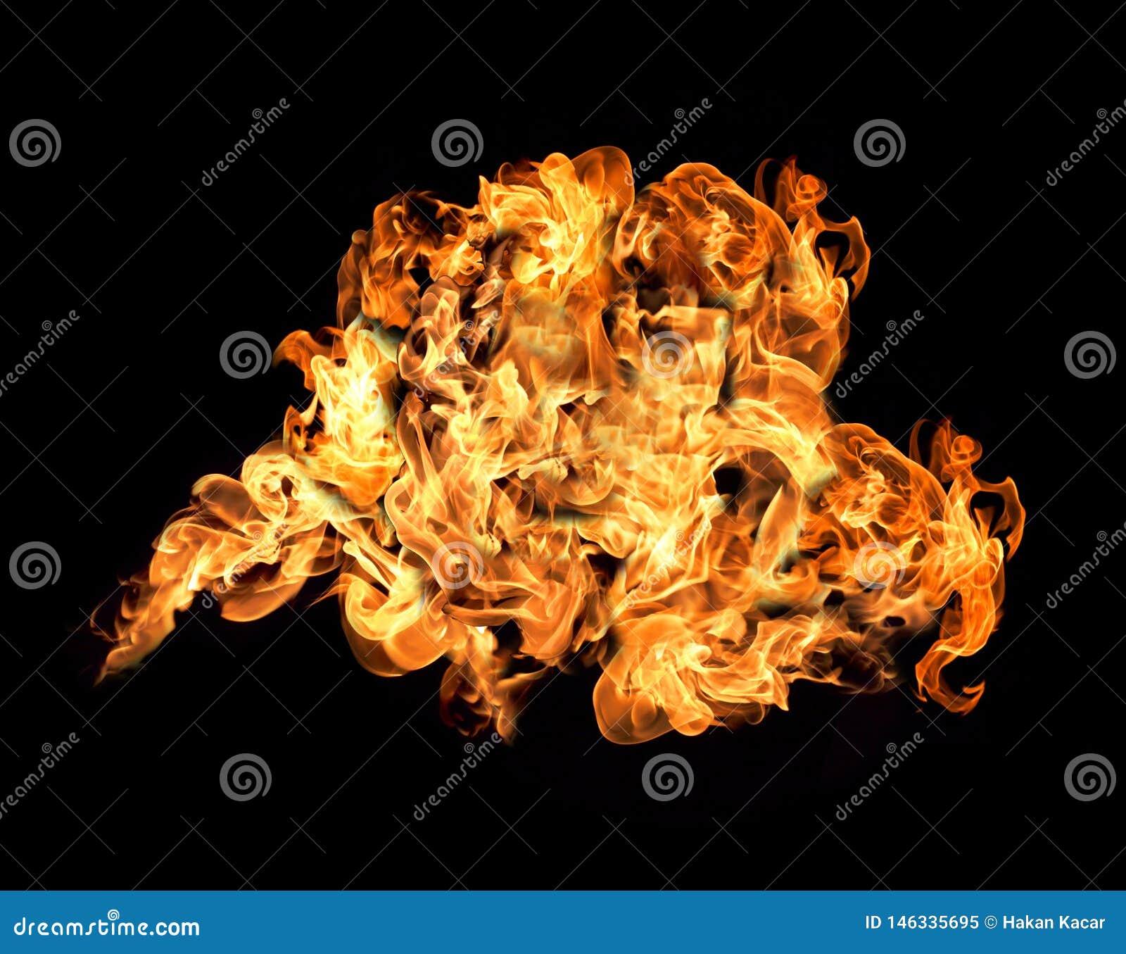 Incendie et flammes avec une obscurit? br?lante - rouge - fond orange Incendie et flammes