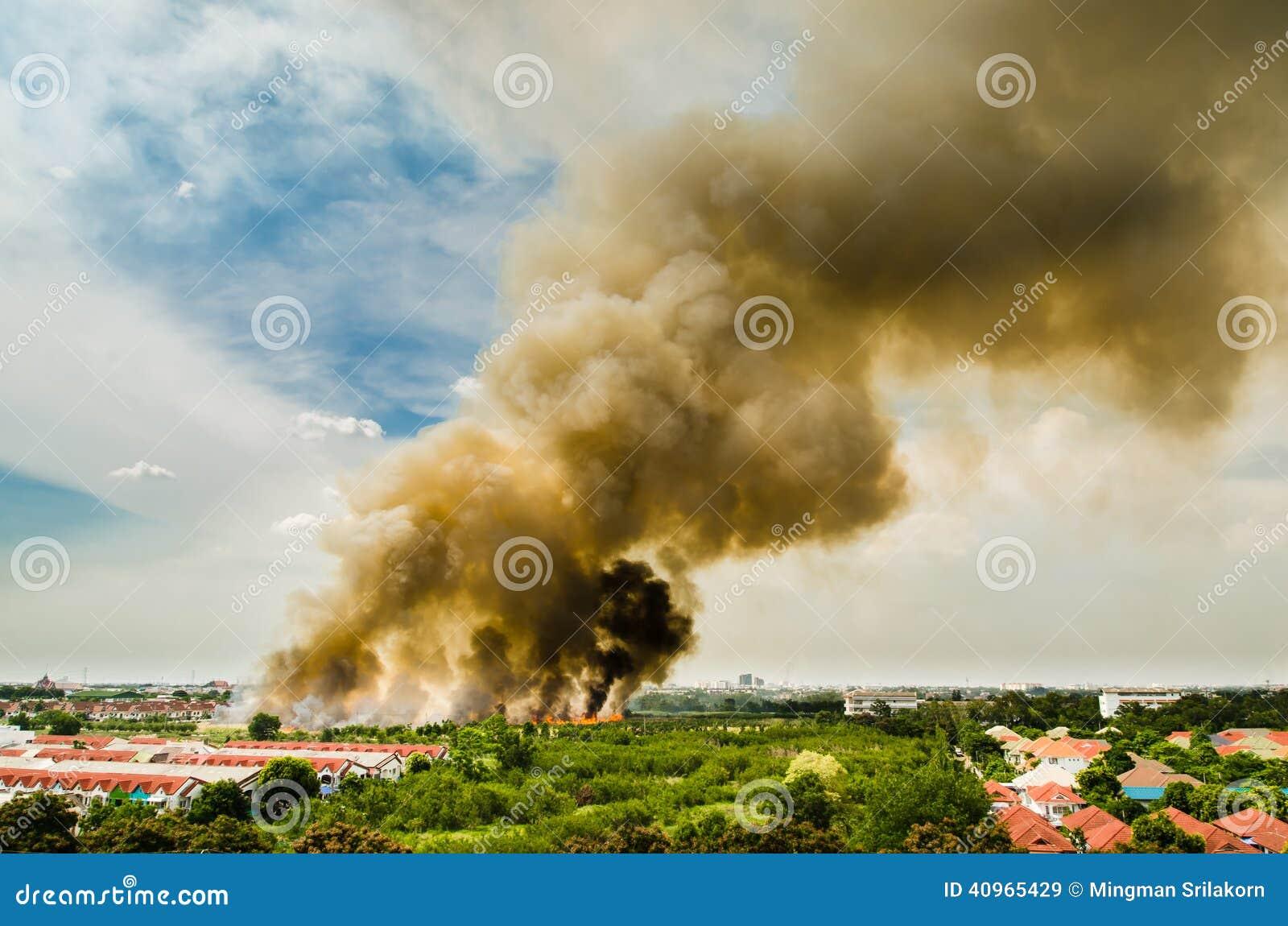 Incendies de forêt dans la ville sur une surabondance chaude Sapeur-pompier aidé à s empresser d empêcher le feu écarté au villag