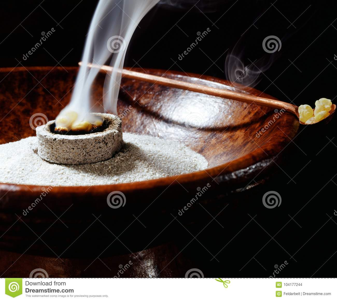 Incense bowl and burning incense