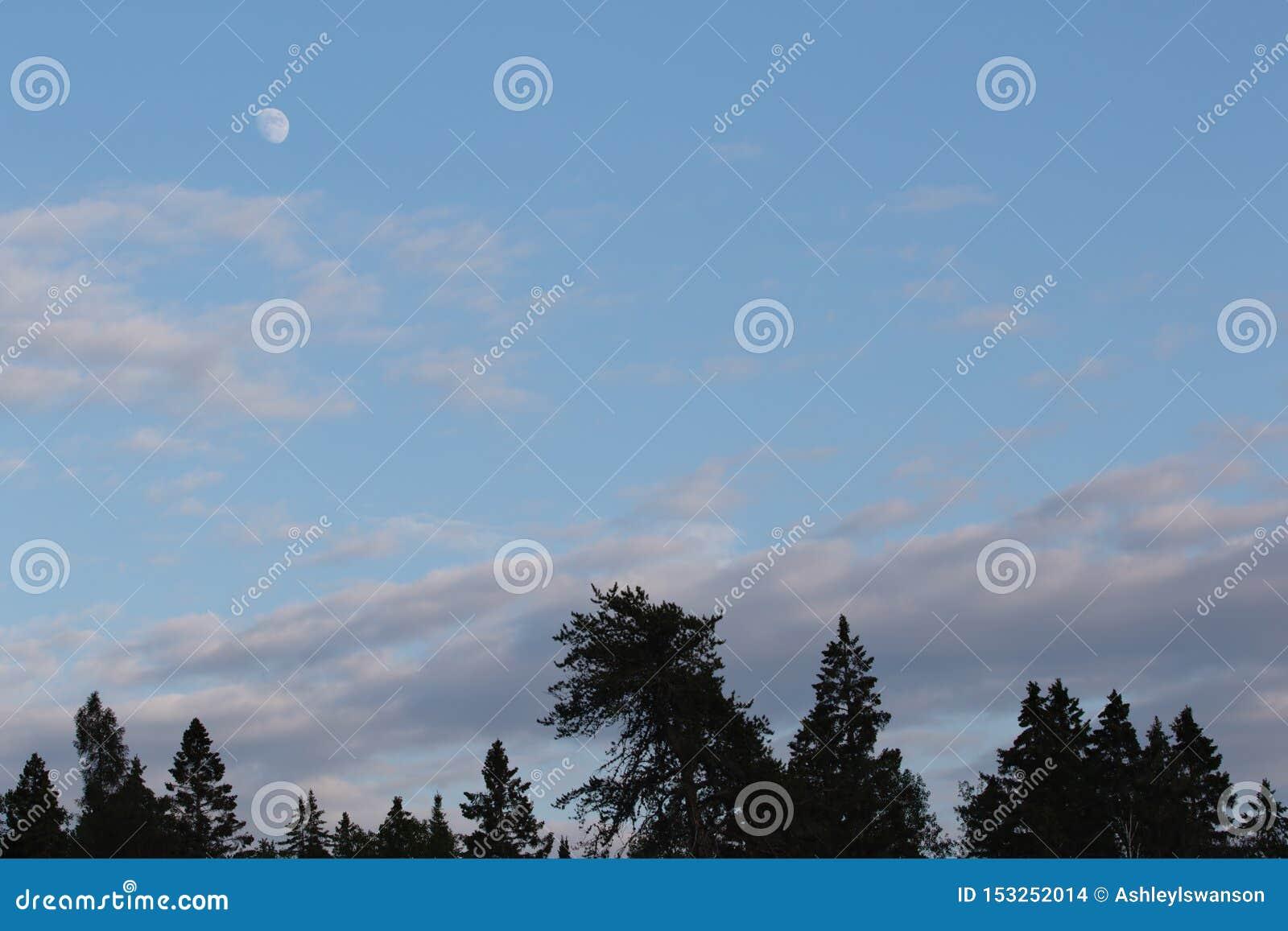 Inceratura della fase Gibbous della luna nella sera mentre il Sun è ancora fuori