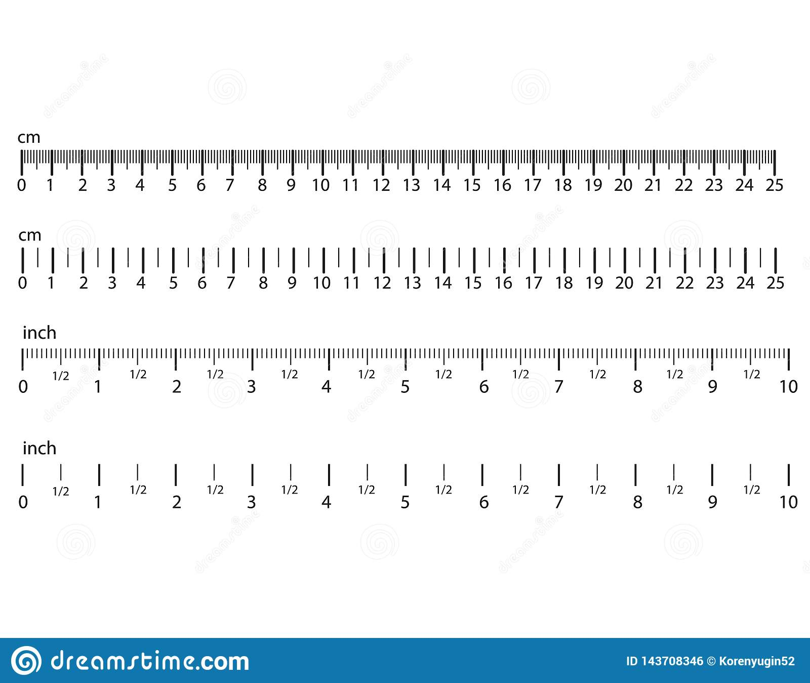 Inch And Metric Rulers  Centimeters And Inches Measuring