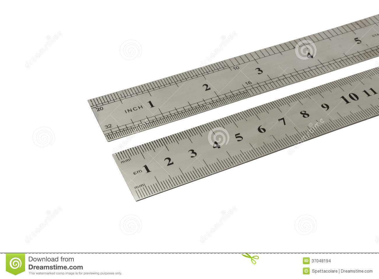 Inches And Centimeters Metal Ruler Stock Photo - Image of