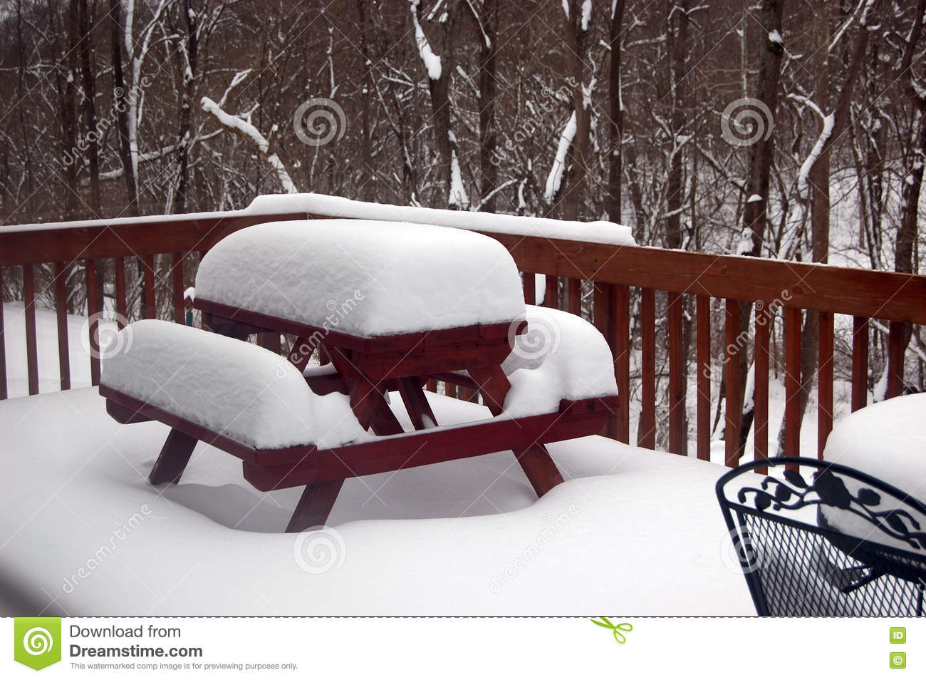 10 inches of snow on the deck