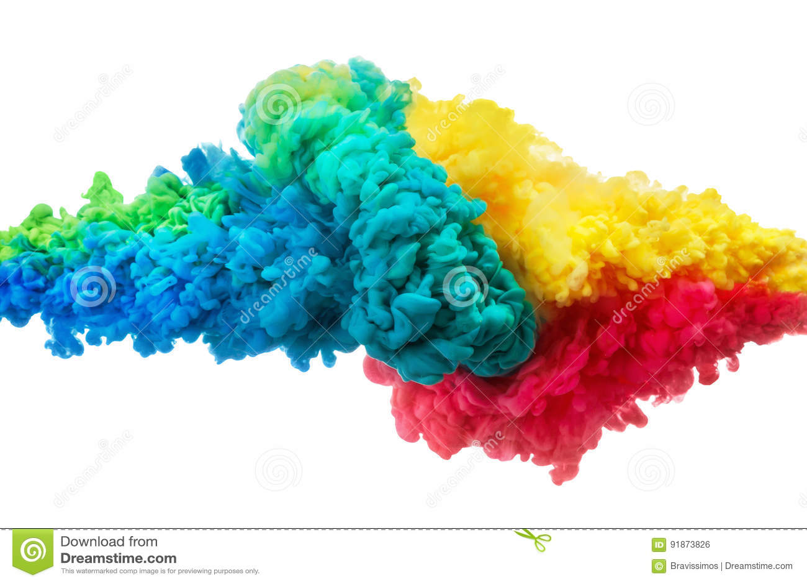 Inchiostro acrilico variopinto in acqua isolata su bianco sottragga la priorità bassa Esplosione di colore