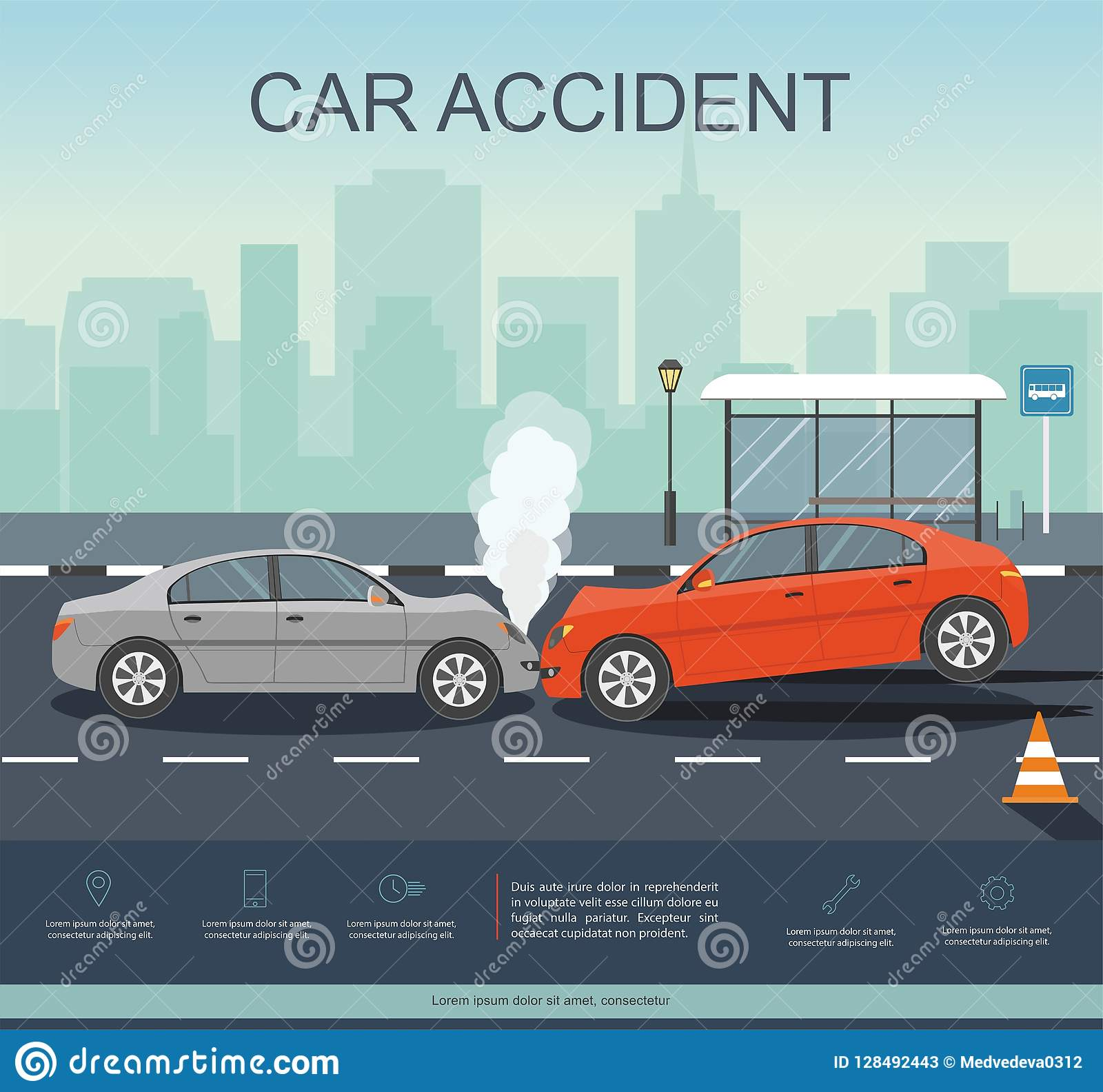 Incidente stradale sulla strada Transporation Infographic