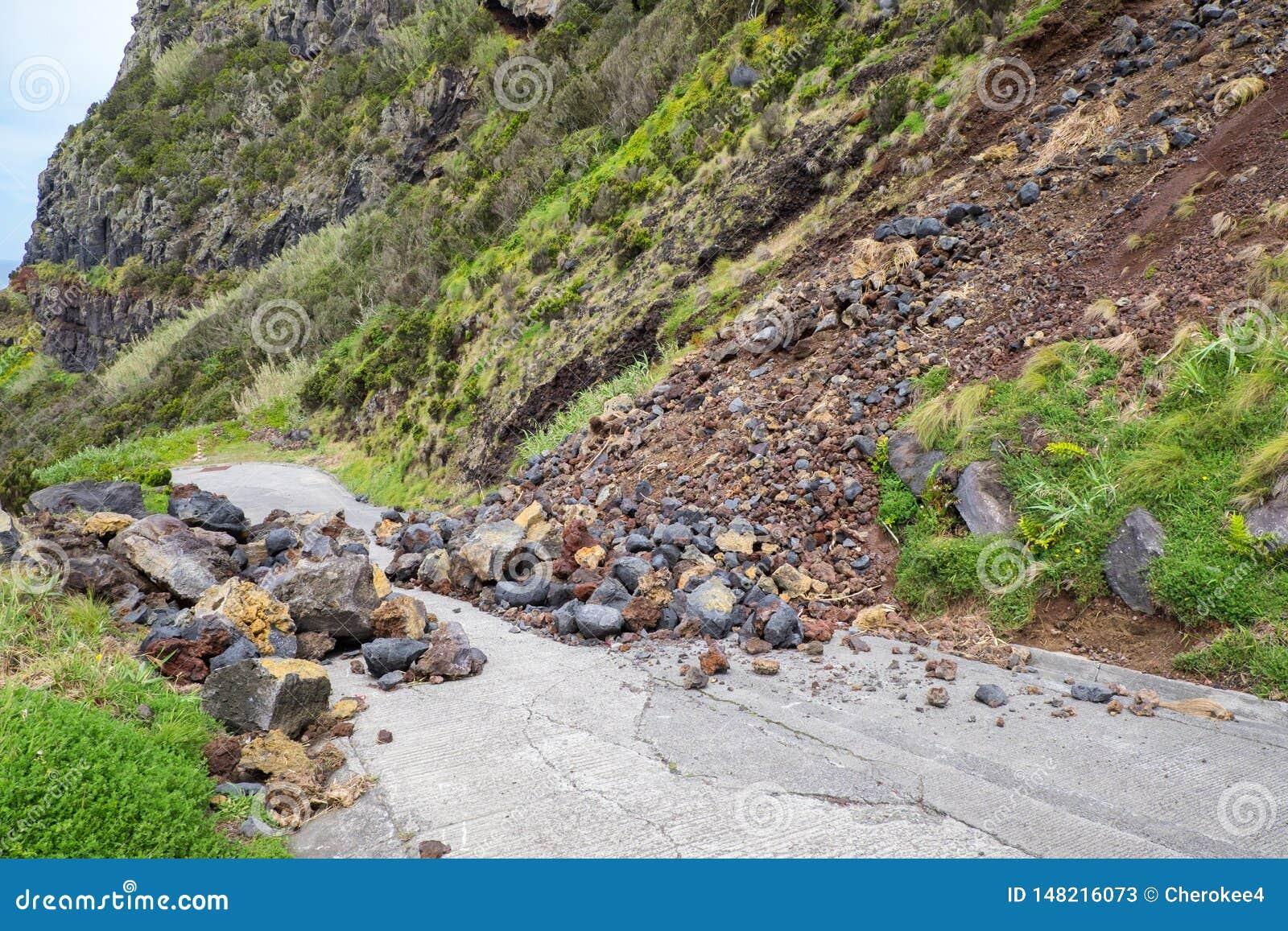 A inclinação da pedra do corrimento da montanha do perigo ameaça obstruir a estrada para o motorista e o residente da cidade
