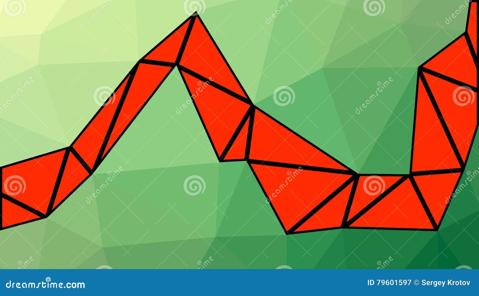 Inclinação verde e vermelho abstrato lowploly do fundo de muitos triângulos para o uso no projeto