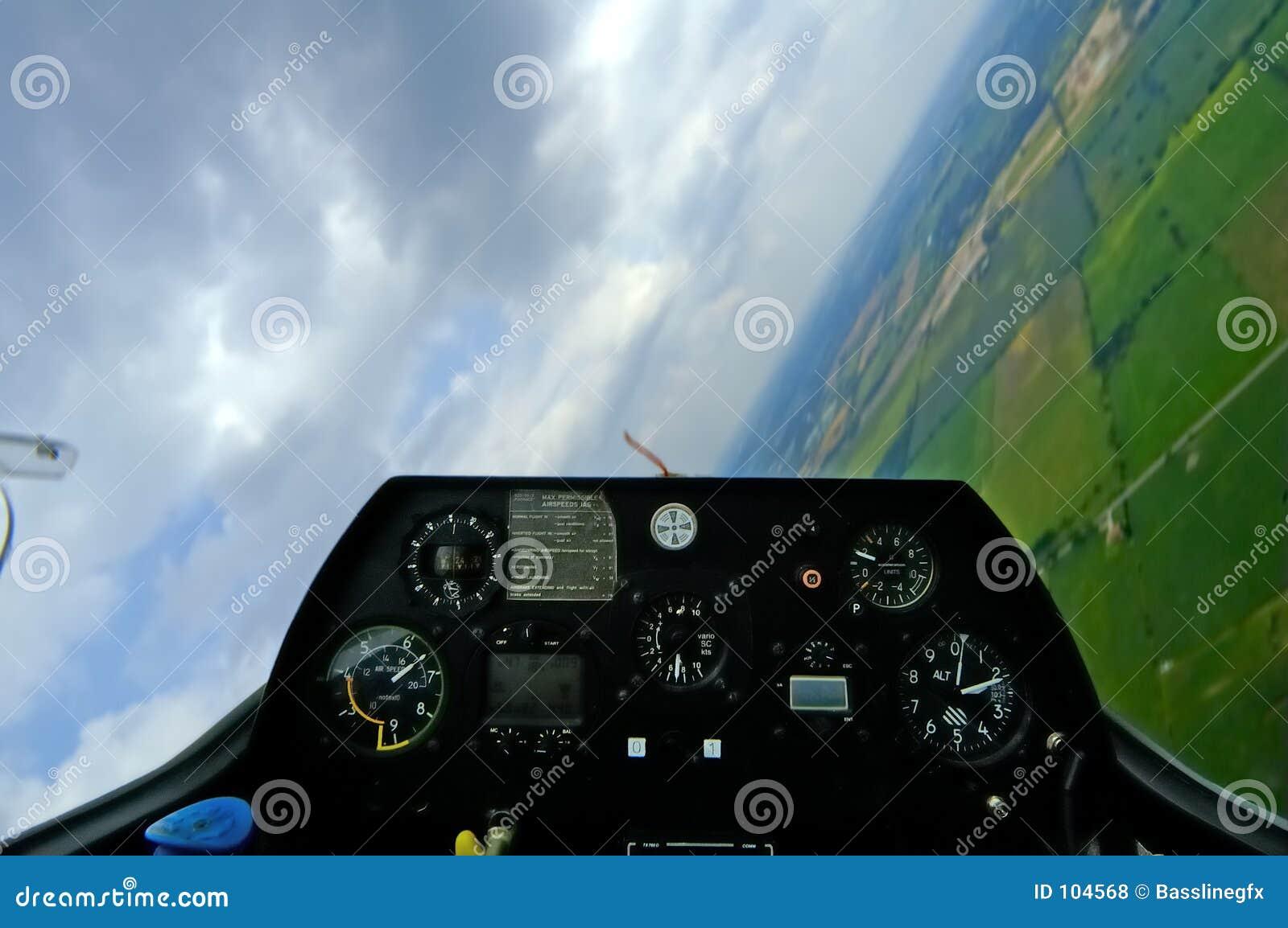 Inclinação w/Path da cabina do piloto do planador