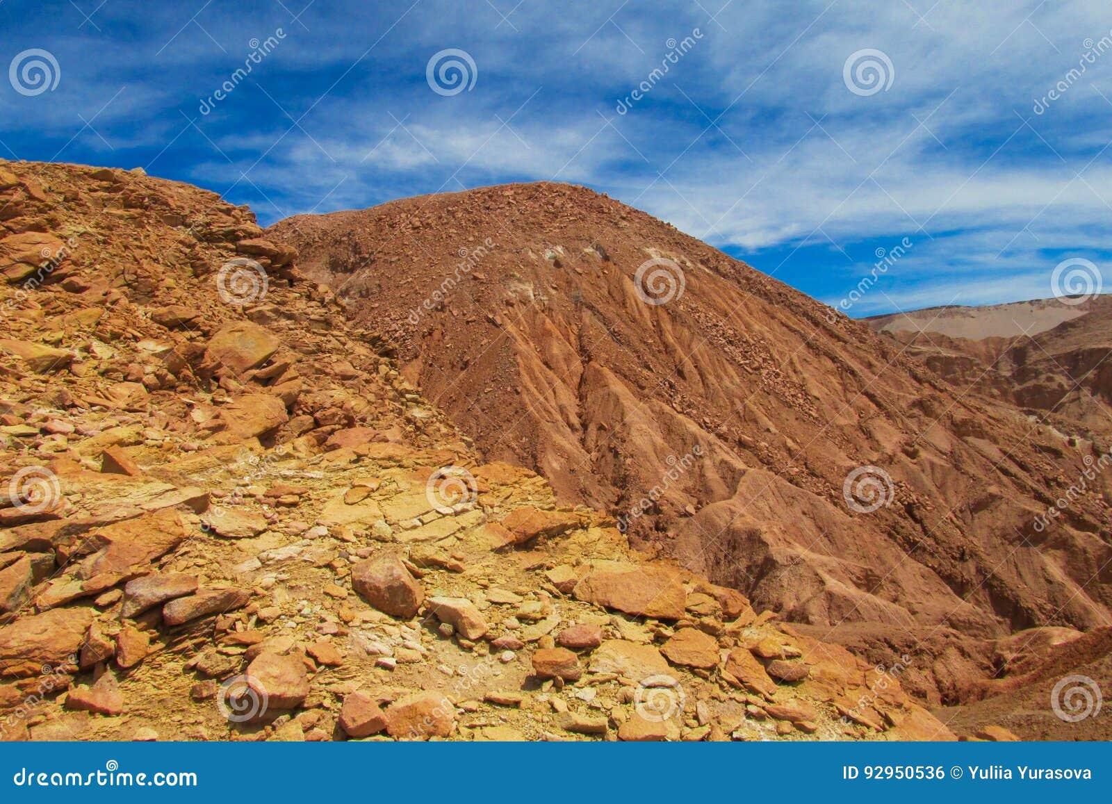 Inclinações de montanha do deserto de Atacama