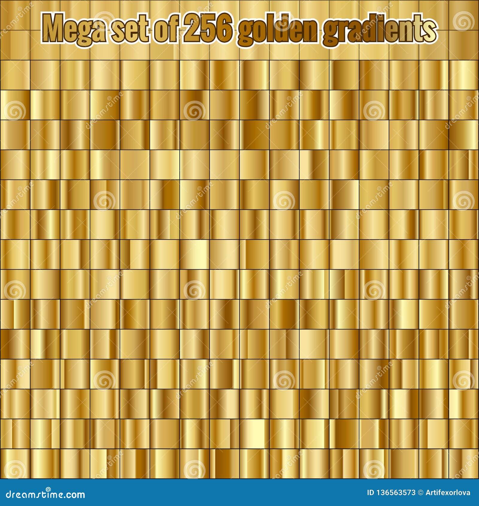 Inclinações dourados consistindo da coleção 256 do grupo mega Eps 10