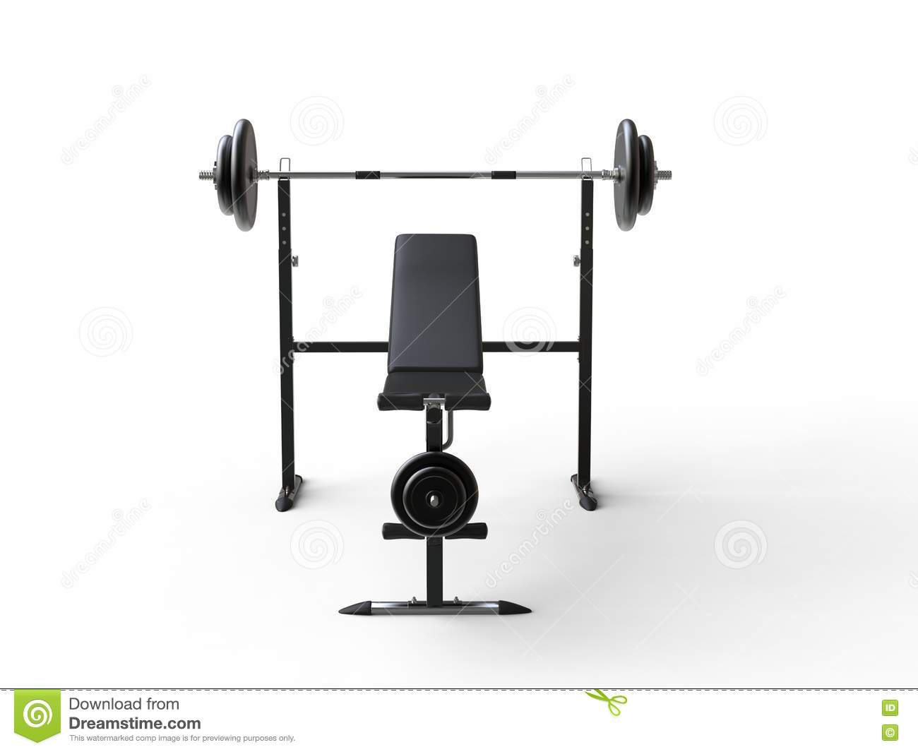 Incline gym bench with barbell weight and additional weight plates - front view