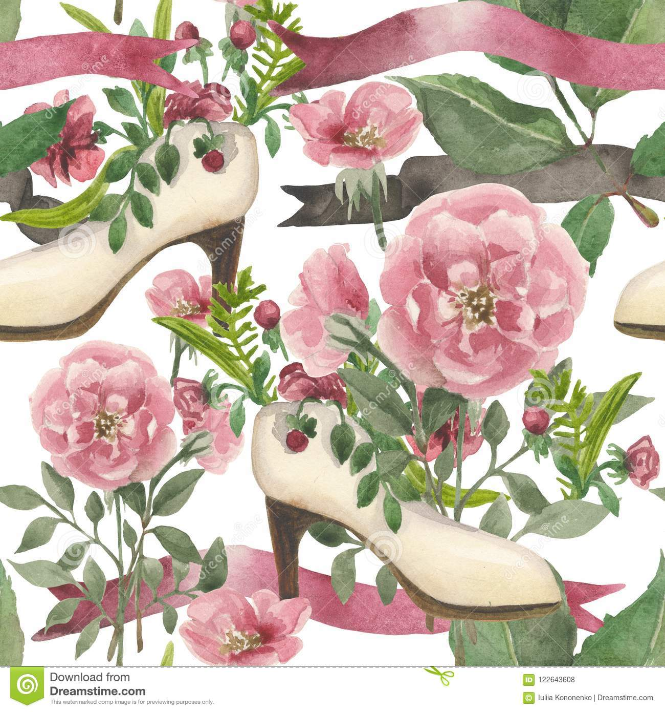 Watercolor Pattern On A Wedding Theme Stock Illustration