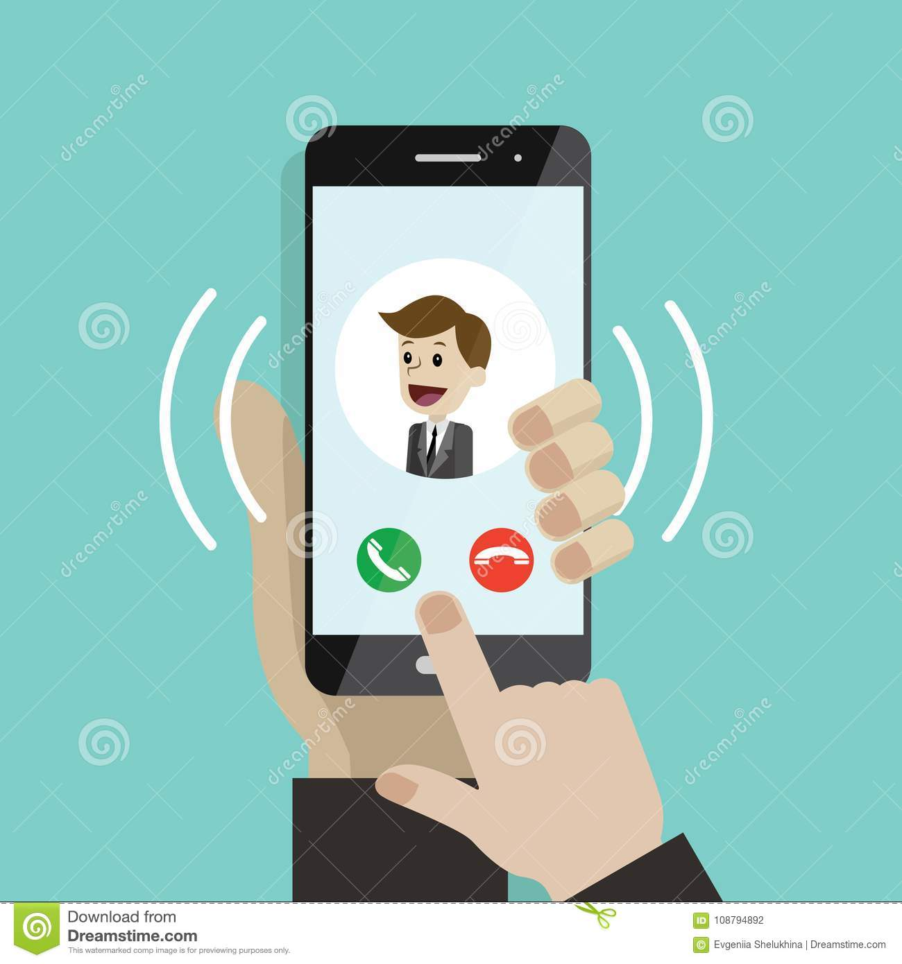Incoming Call  Human Hand Holding Cellphone  Smartphone With