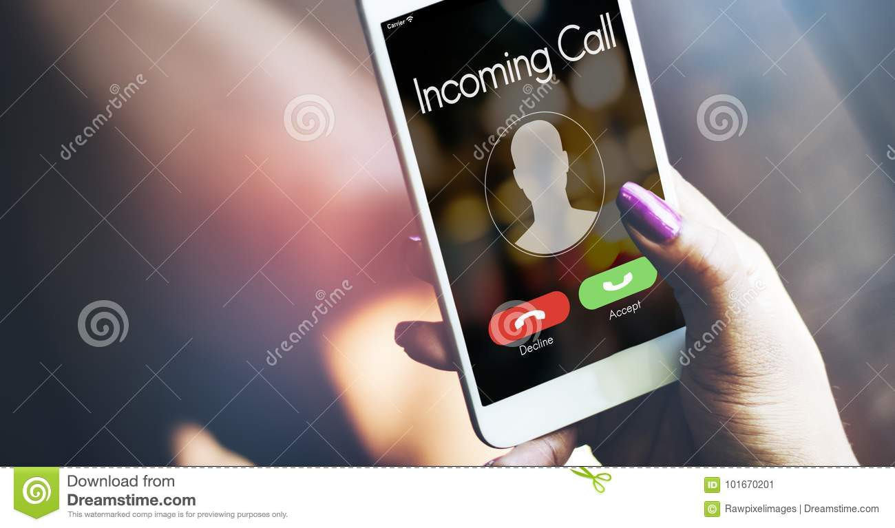 Incoming call smartphone in hand