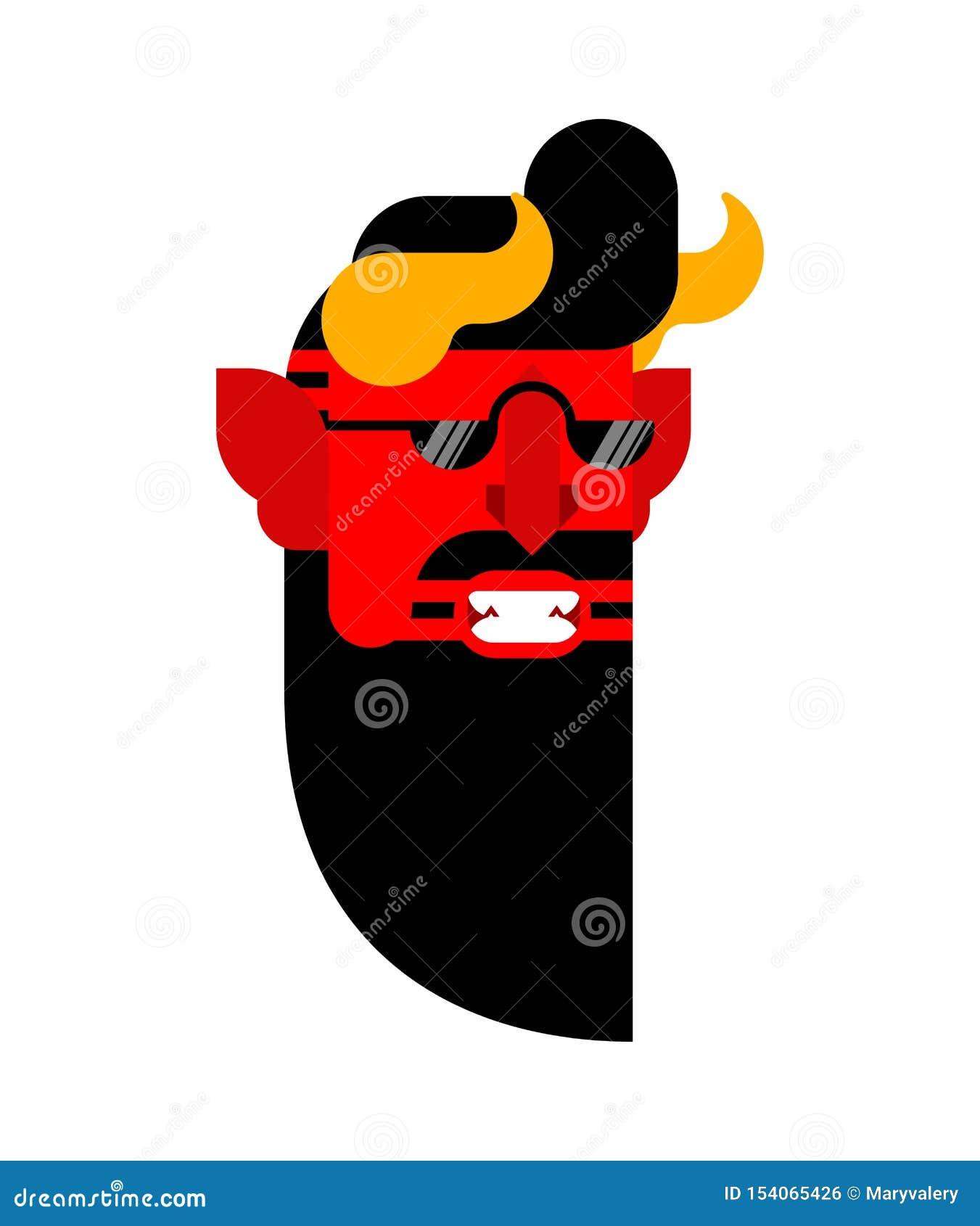 Inconformista del diablo aislado Mirada de moda de Satanás Moda-tratante barbudo del demonio Ejemplo de Lucifer Vector