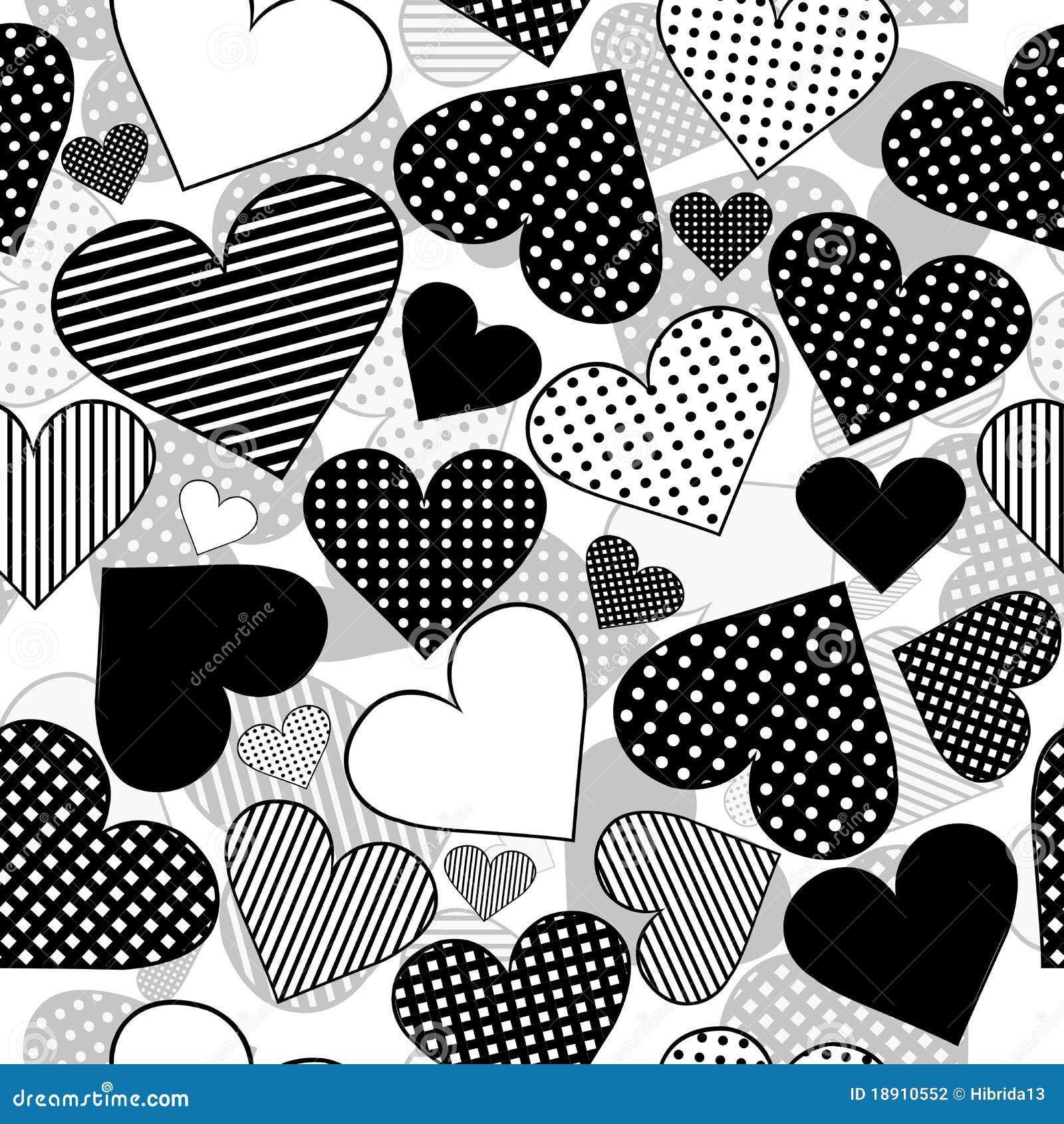 Incons til con los corazones negros en el fondo blanco - Papel de pared blanco y negro ...