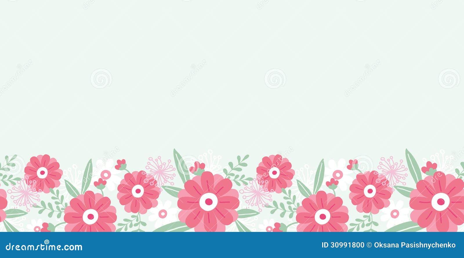 Flores Horizontales Dibujos Animados Patrón De Fondo: Inconsútil Horizontal De Las Flores Y De Las Hojas De La