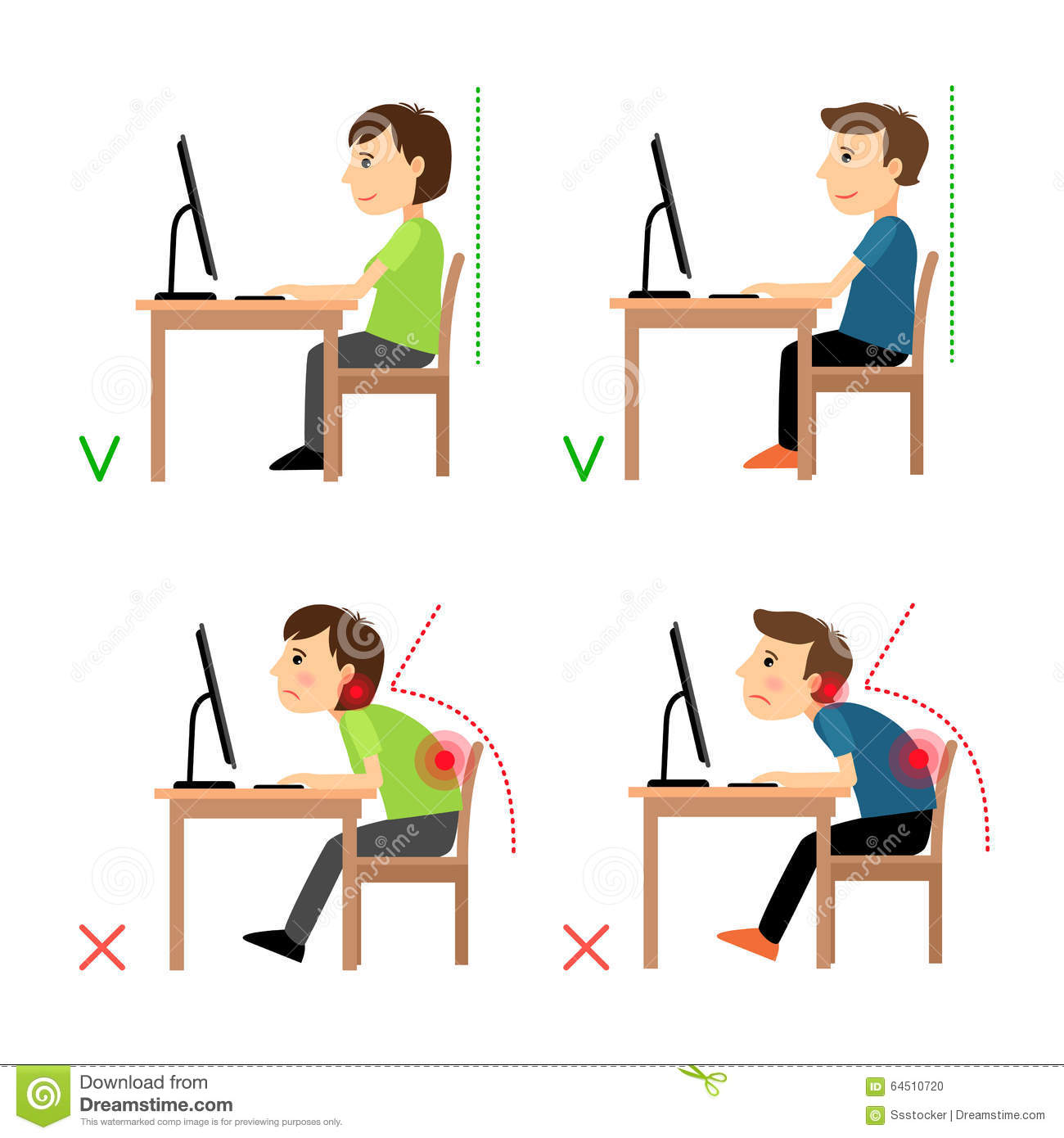 Incorrect And Correct Back Sitting Position Stock Vector