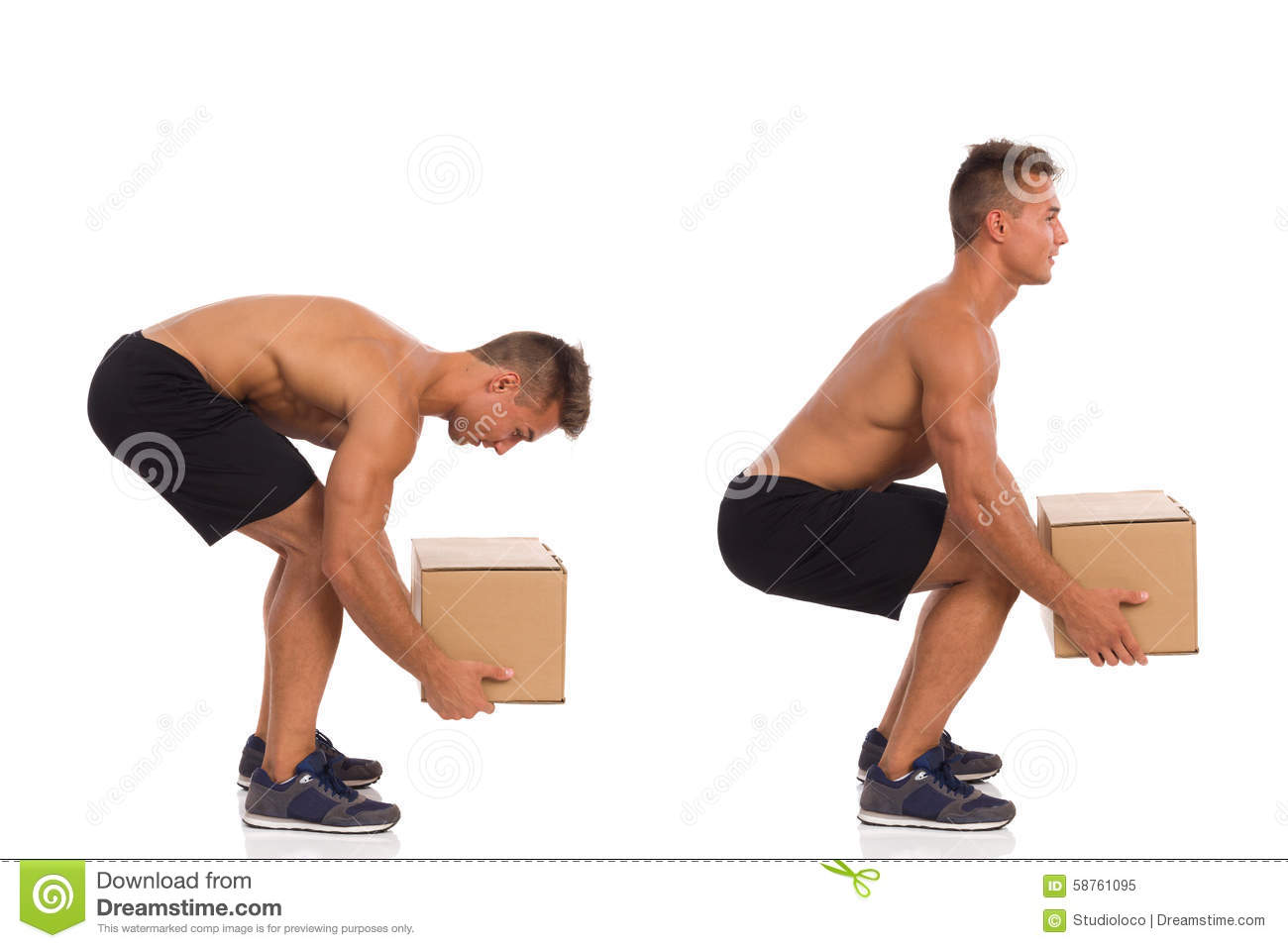 Incorrect And Correct Posture While Lifting Weight Stock ...