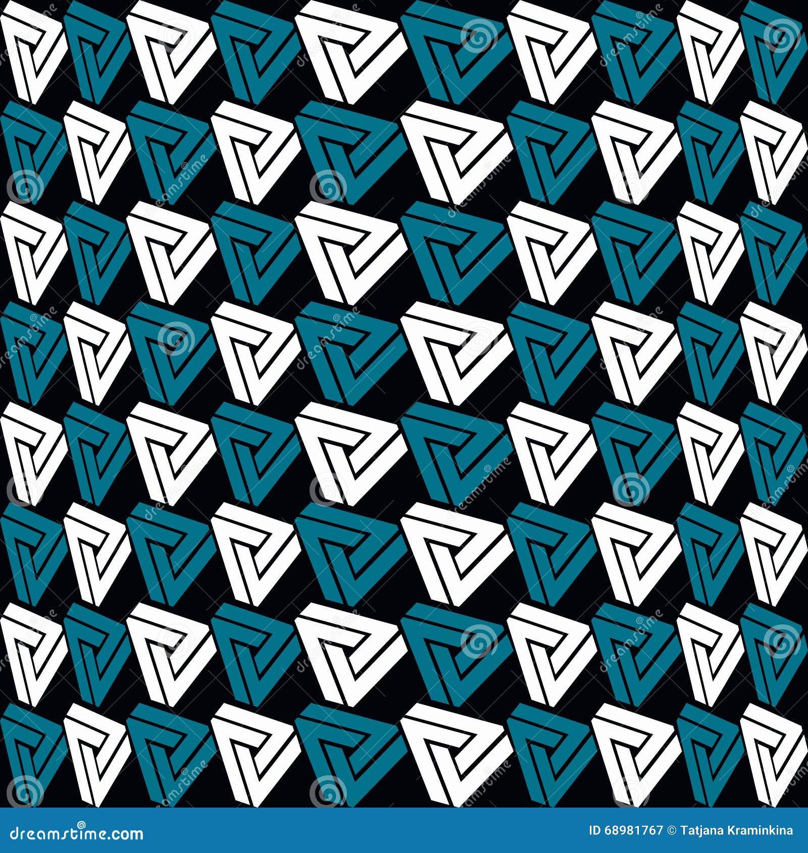 Increíblemente modelo de los triángulos en fondo negro