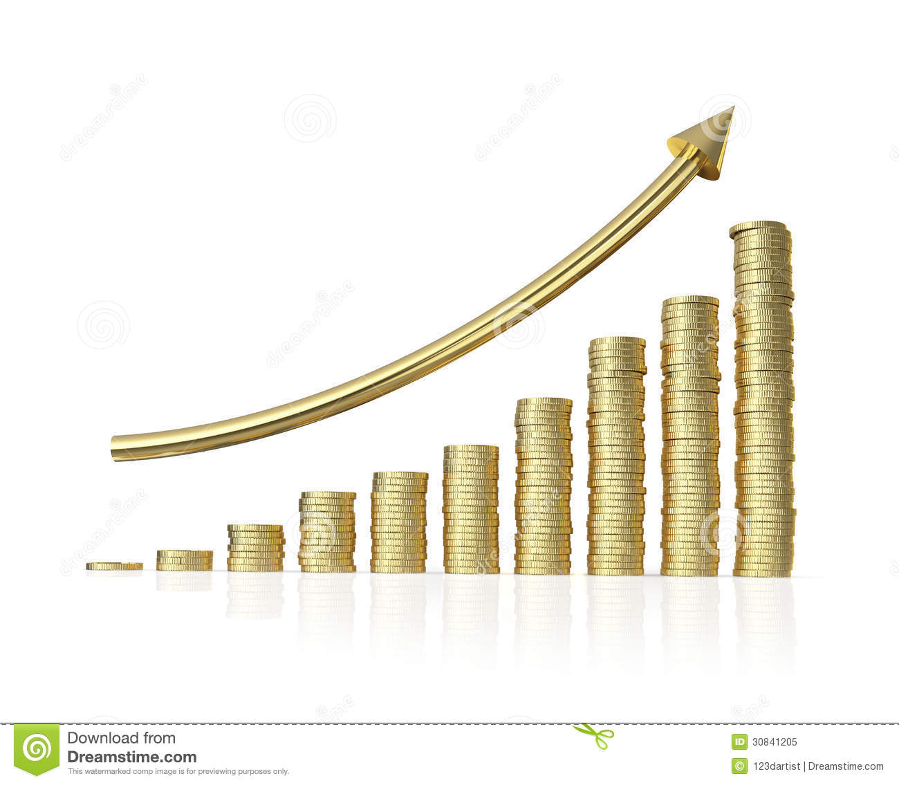 Increase Profit Graph On White Background Royalty Free Stock Photo - Image: 30841205