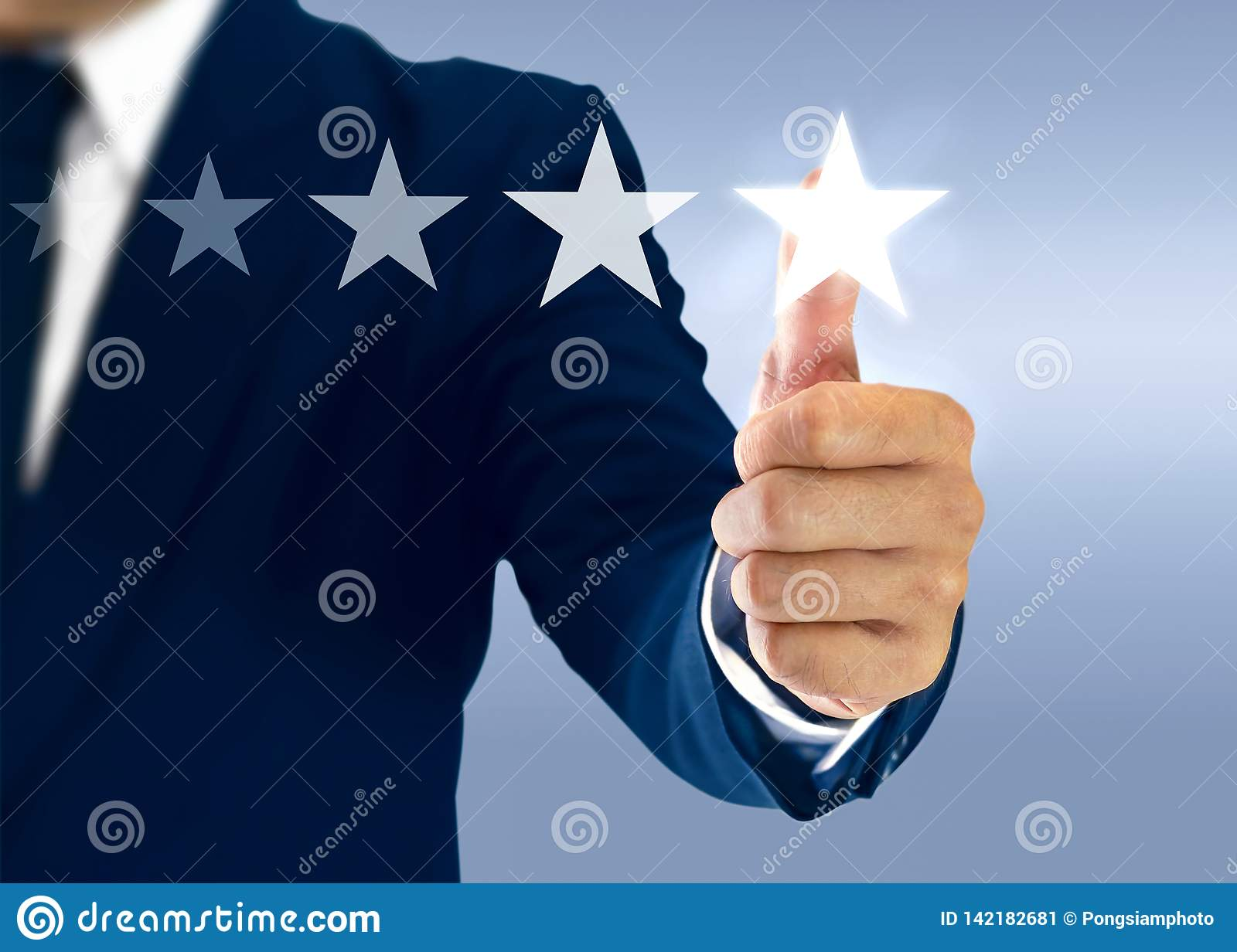 Increase ranking and rating with businessman is touching virtual screen
