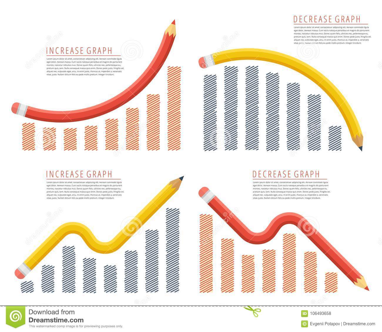Increase, recession, growth, decline, reduction, success business. Pencil arrow graphs.