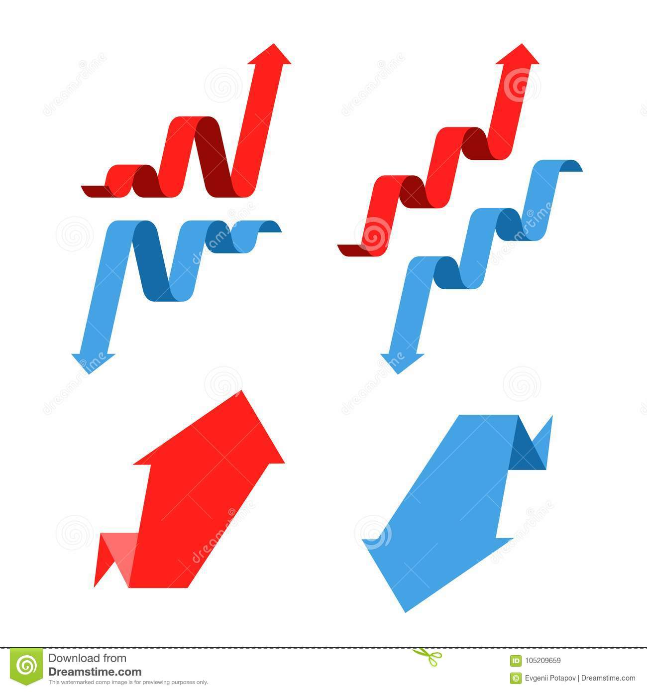 Increase, recession, growth, decline, success business arrows. F