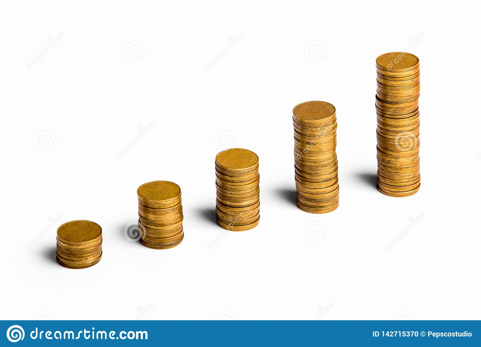 Increasing Columns Of Gold Coins On White Stock Photo